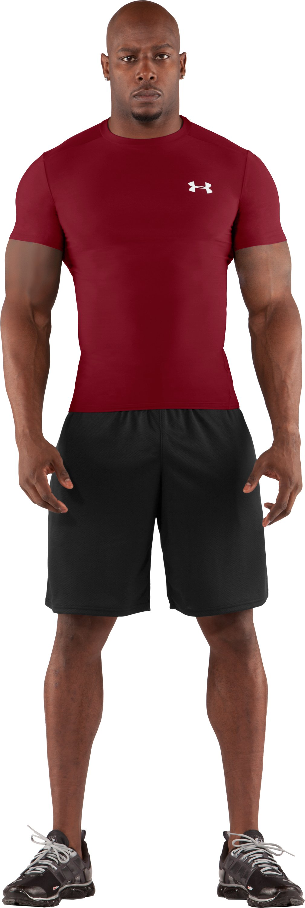Men's HeatGear® Compression Short Sleeve T-Shirt, Crimson, Front