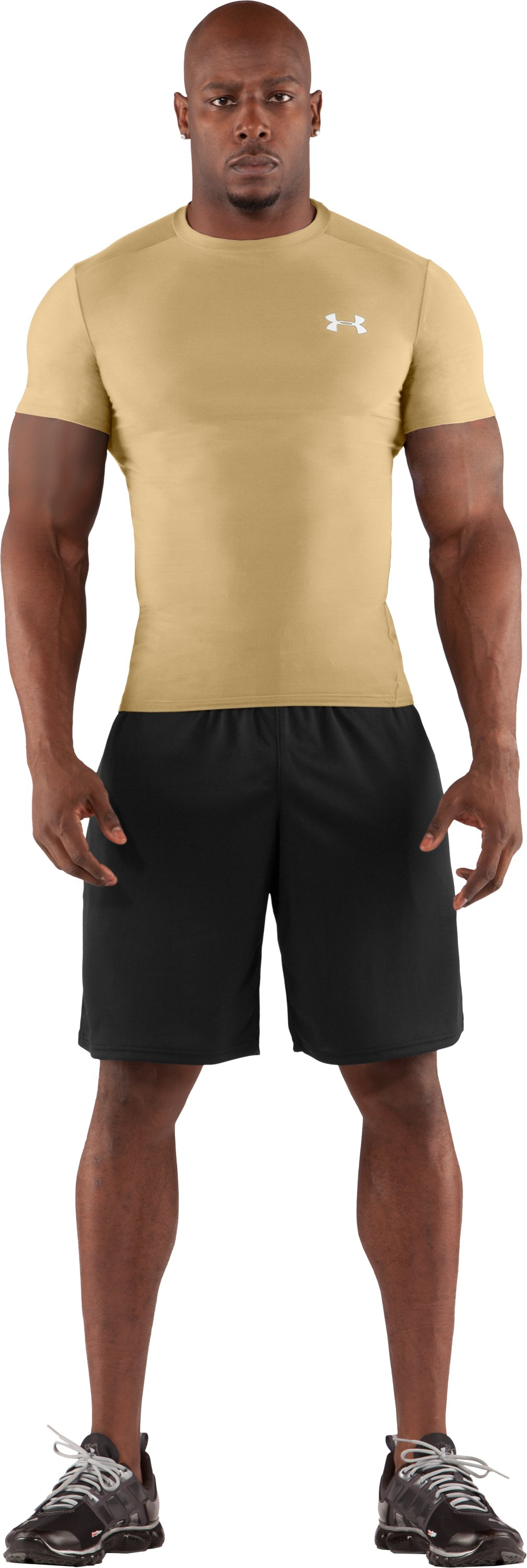 Men's HeatGear® Compression Short Sleeve T-Shirt, Vegas Gold, Front