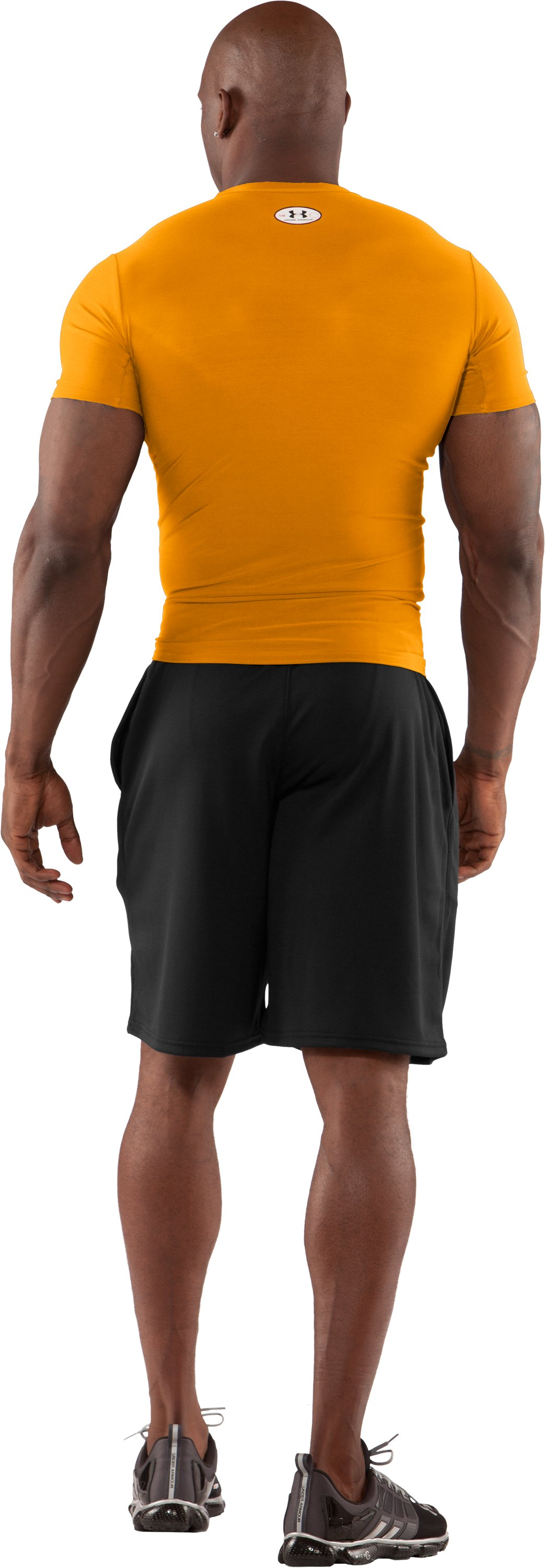 Men's HeatGear® Compression Short Sleeve T-Shirt, Steeltown Gold, Back