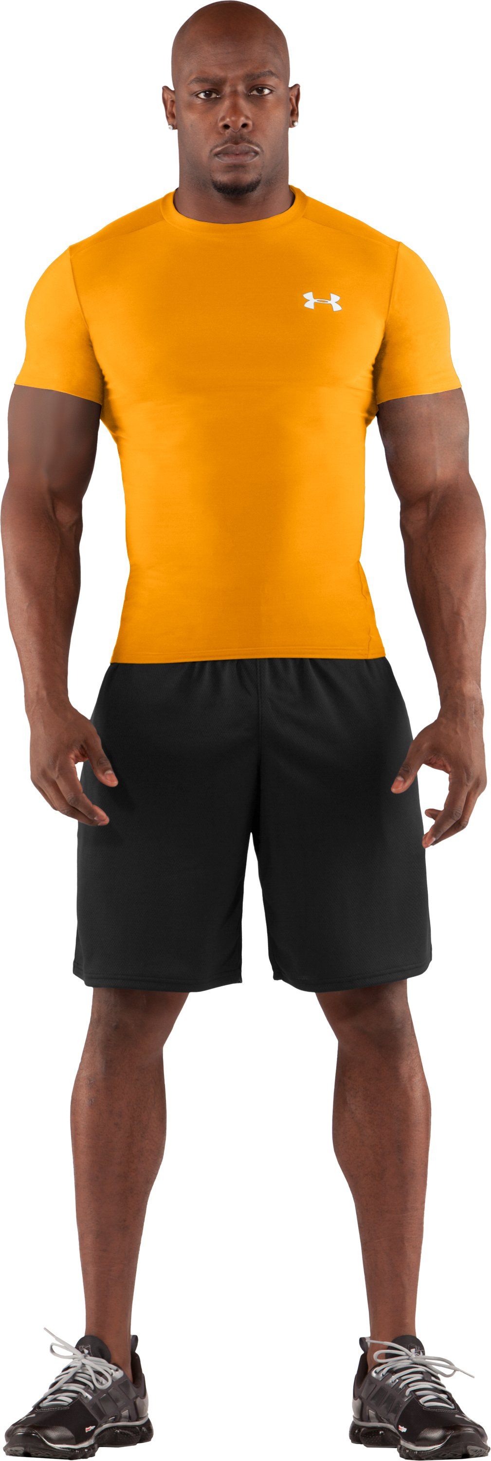 Men's HeatGear® Compression Short Sleeve T-Shirt, Steeltown Gold, Front