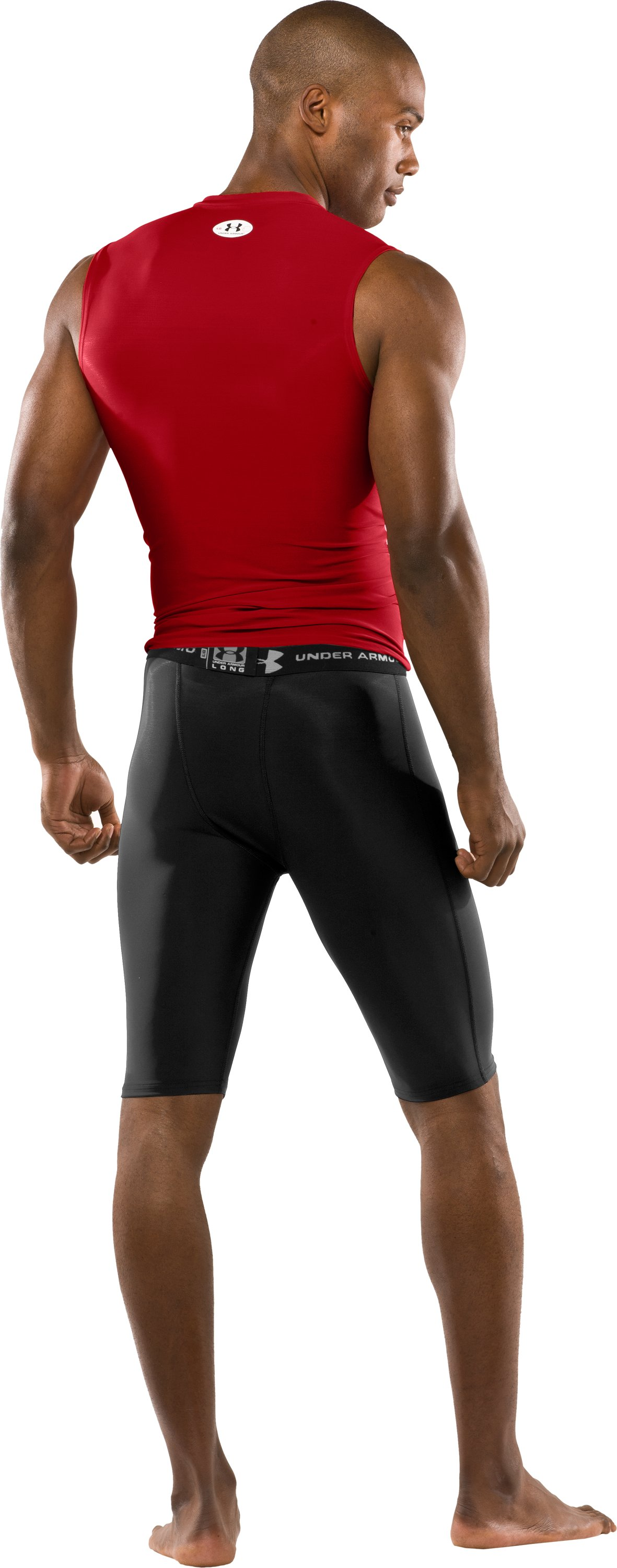 "Men's UA HeatGear® Compression 10"" Shorts, Black , Back"