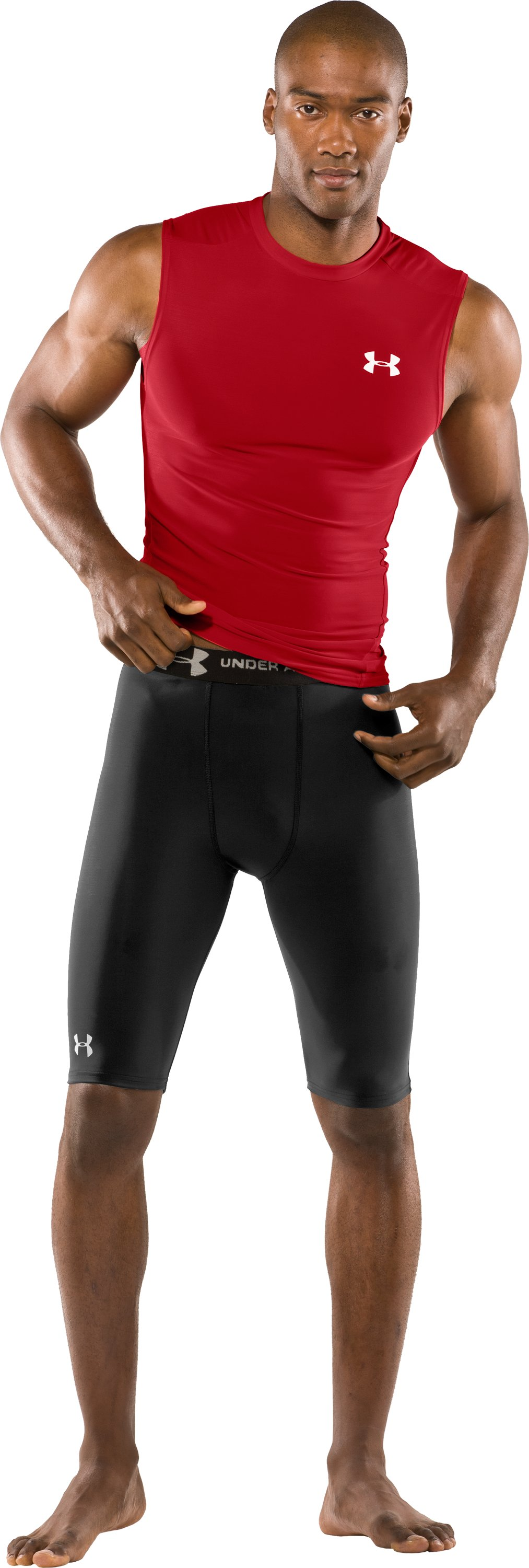 "Men's UA HeatGear® Compression 10"" Shorts, Black"