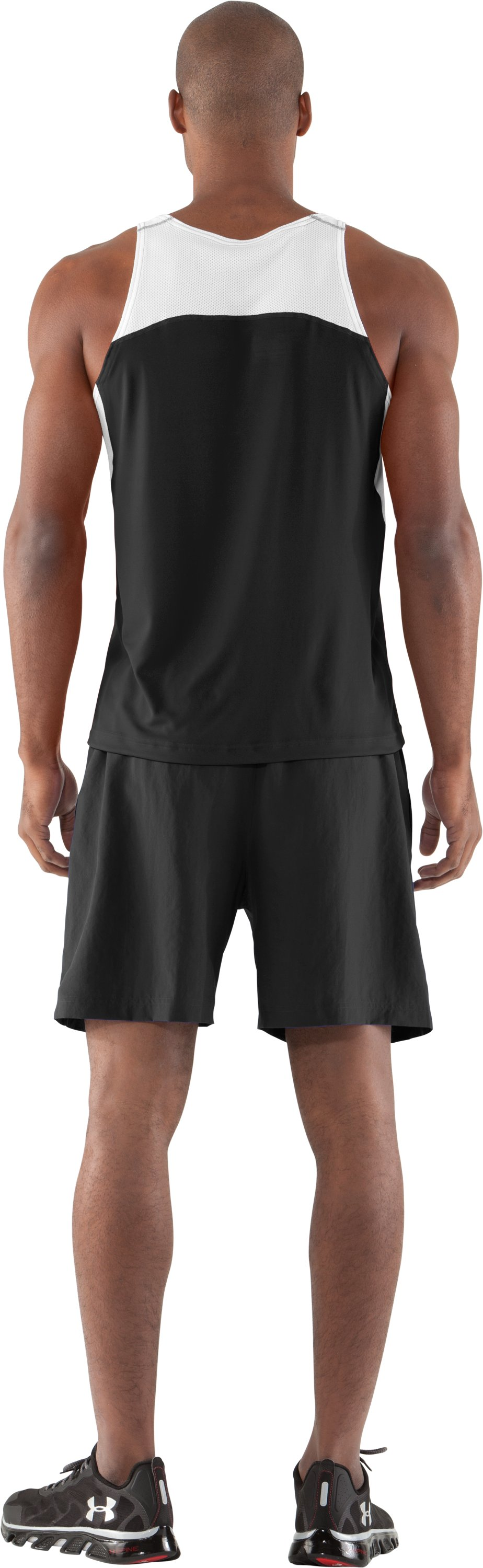 Men's UA Interval Running Singlet, Black , Back