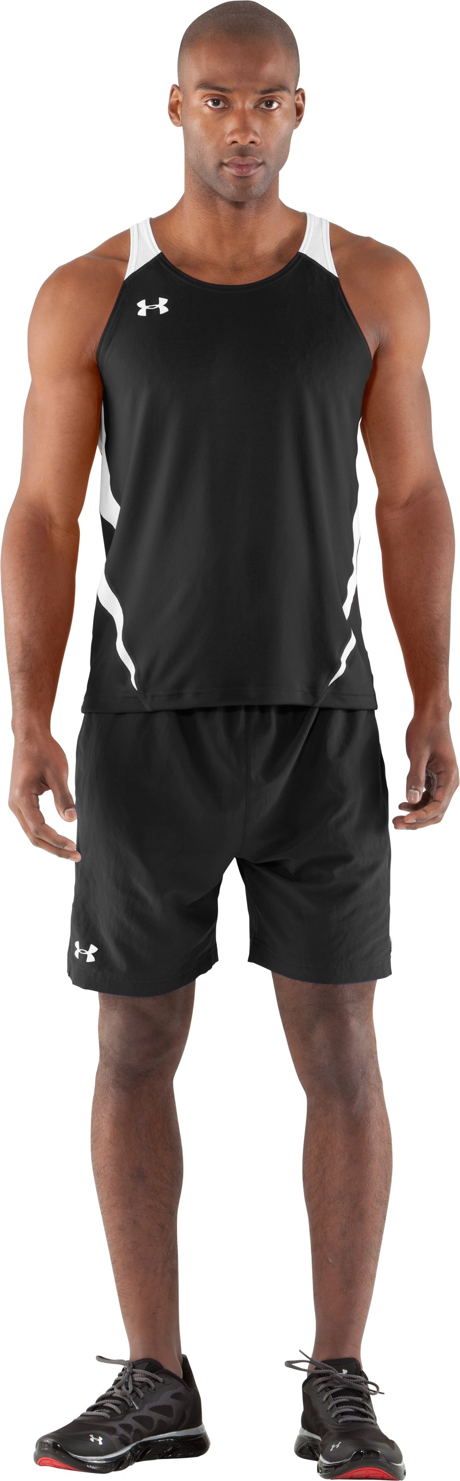 Men's UA Interval Running Singlet, Black , Front