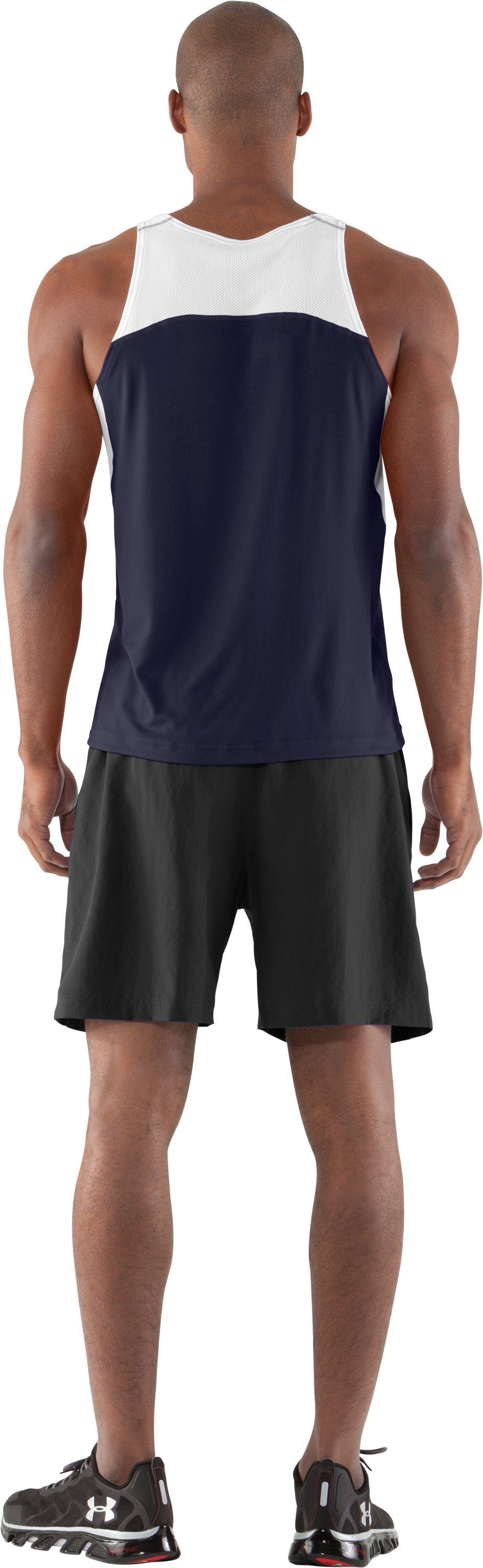 Men's UA Interval Running Singlet, Midnight Navy, Back