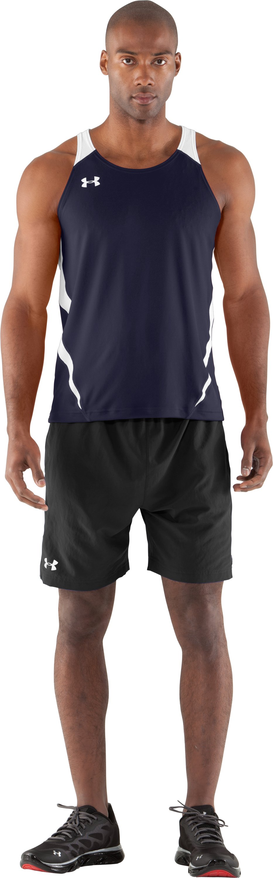 Men's UA Interval Running Singlet, Midnight Navy, Front