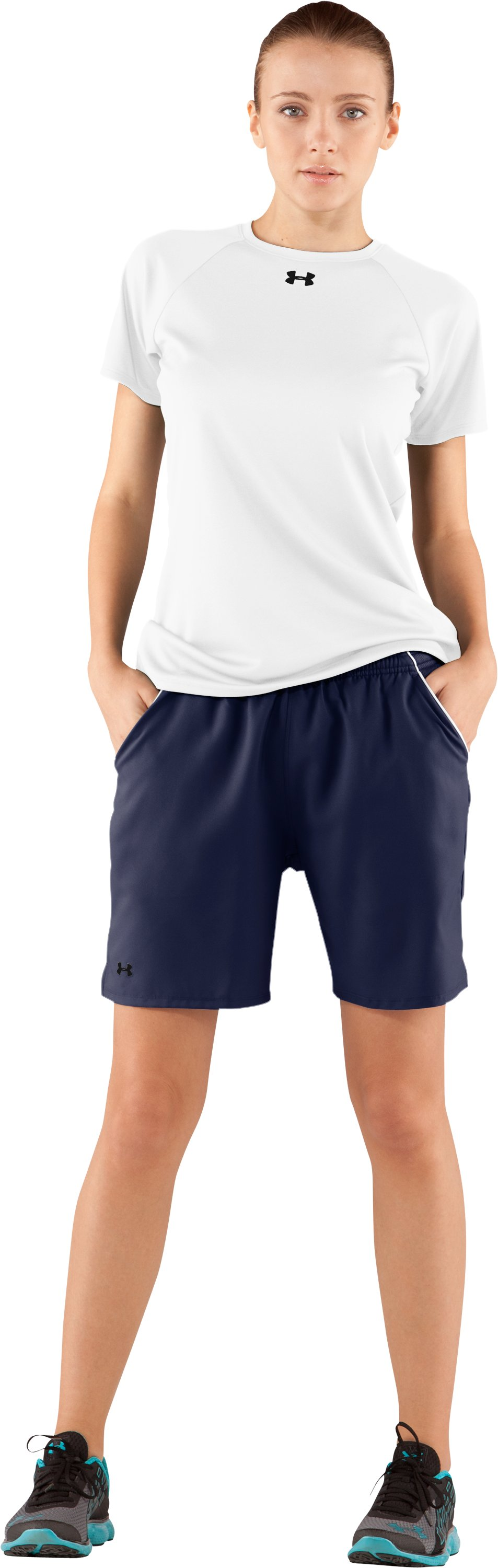 "Women's UA 7"" Scout Shorts, Midnight Navy, Front"