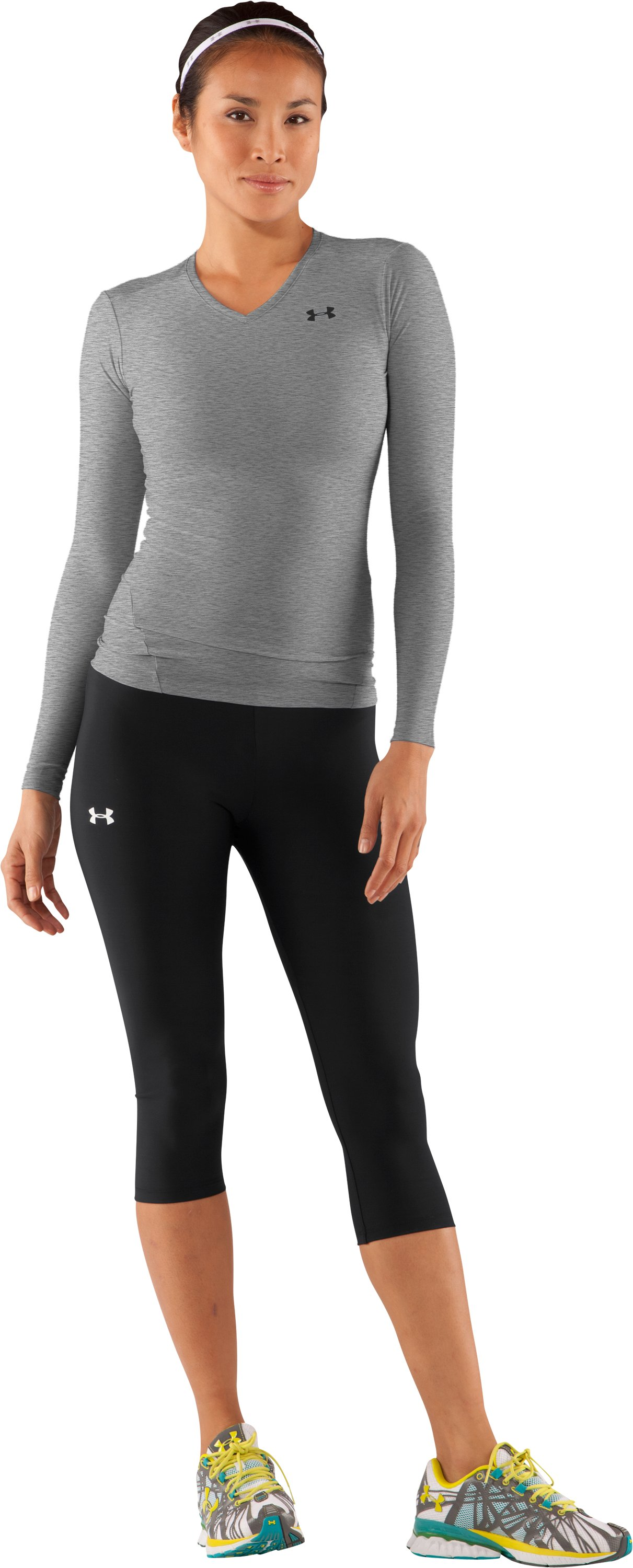 Women's HeatGear® Long Sleeve Compression T-Shirt, Medium Gray Heather, Front