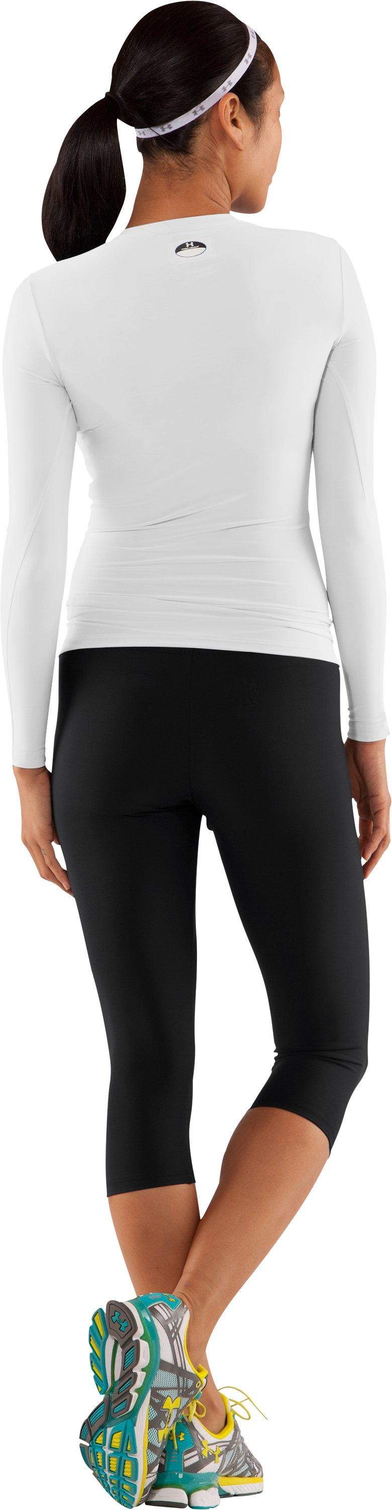 Women's HeatGear® Long Sleeve Compression T-Shirt, White, Back