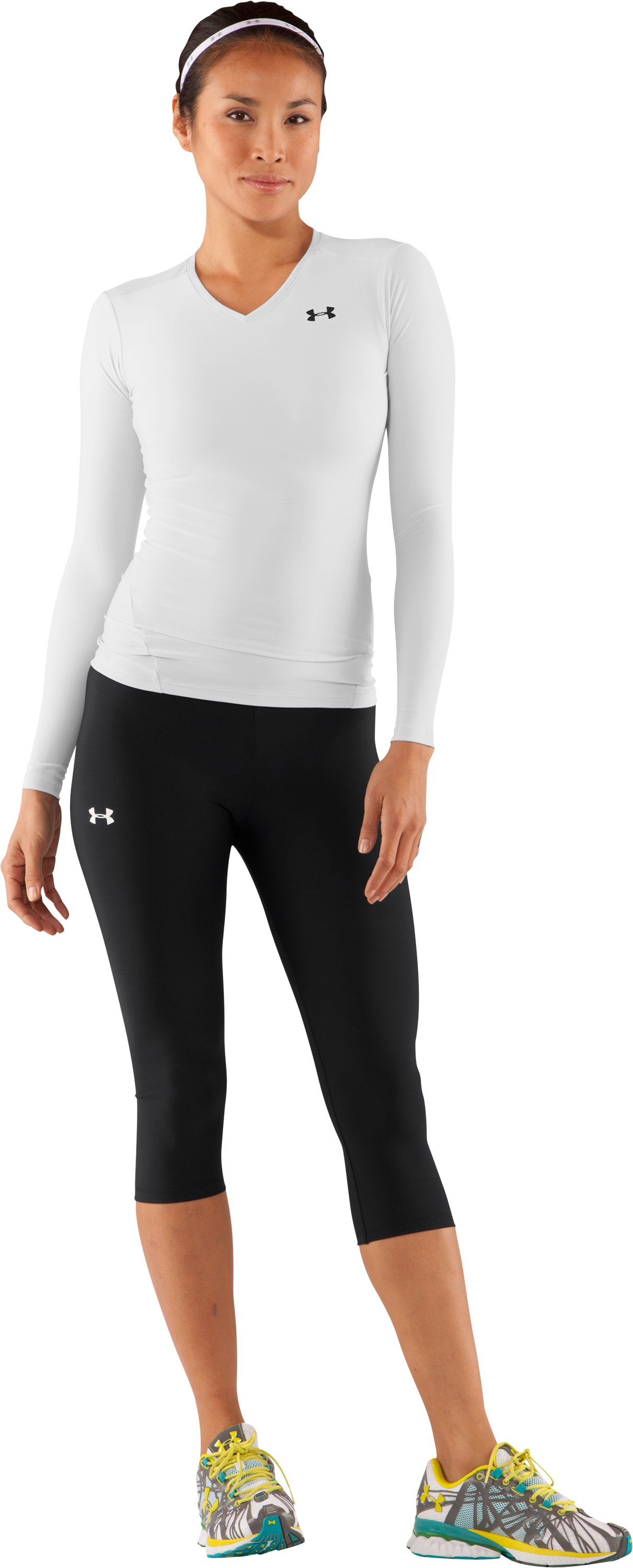 Women's HeatGear® Long Sleeve Compression T-Shirt, White, Front