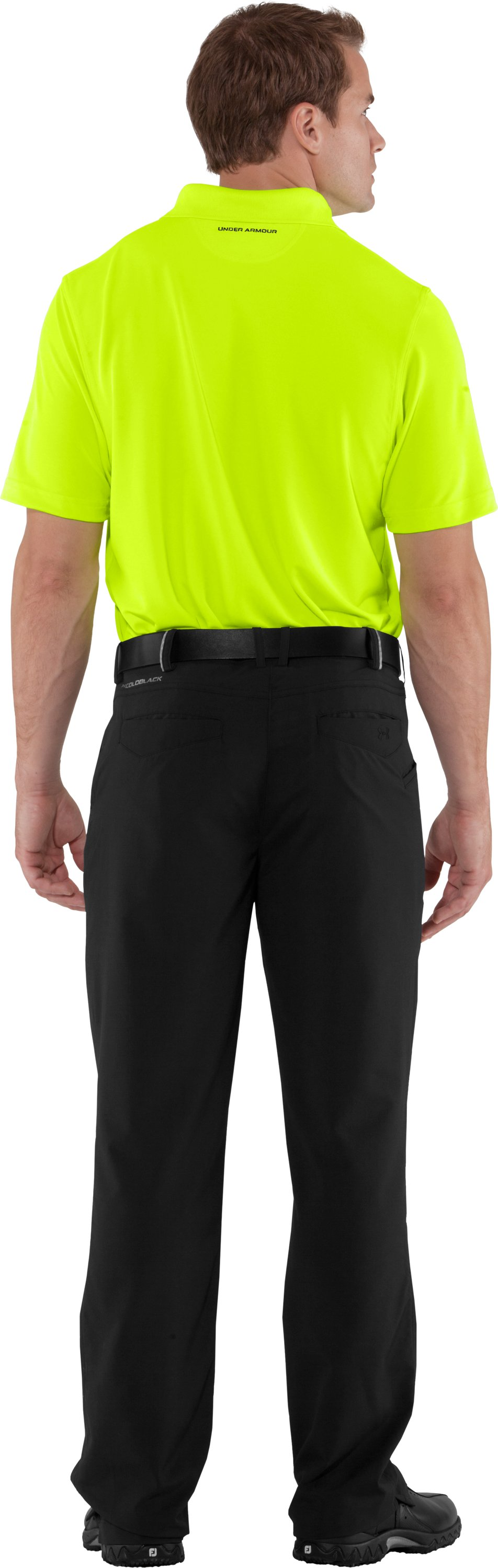 Men's UA Performance Polo — Regular Fit, High-Vis Yellow, Back