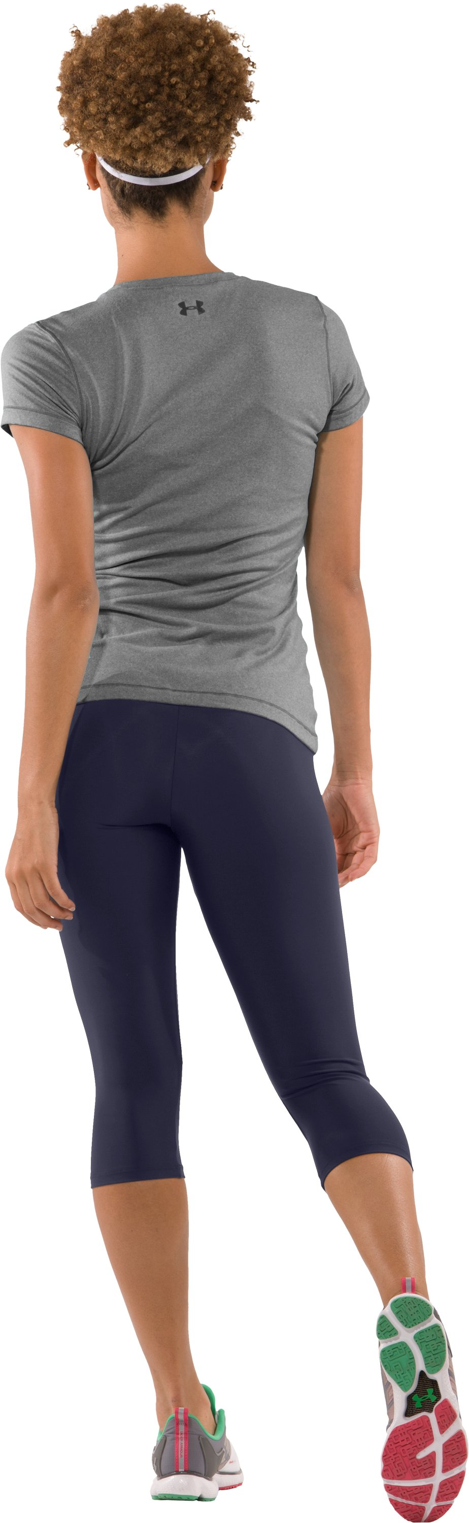 Women's UA HeatGear® Capri Tights, Midnight Navy, Back