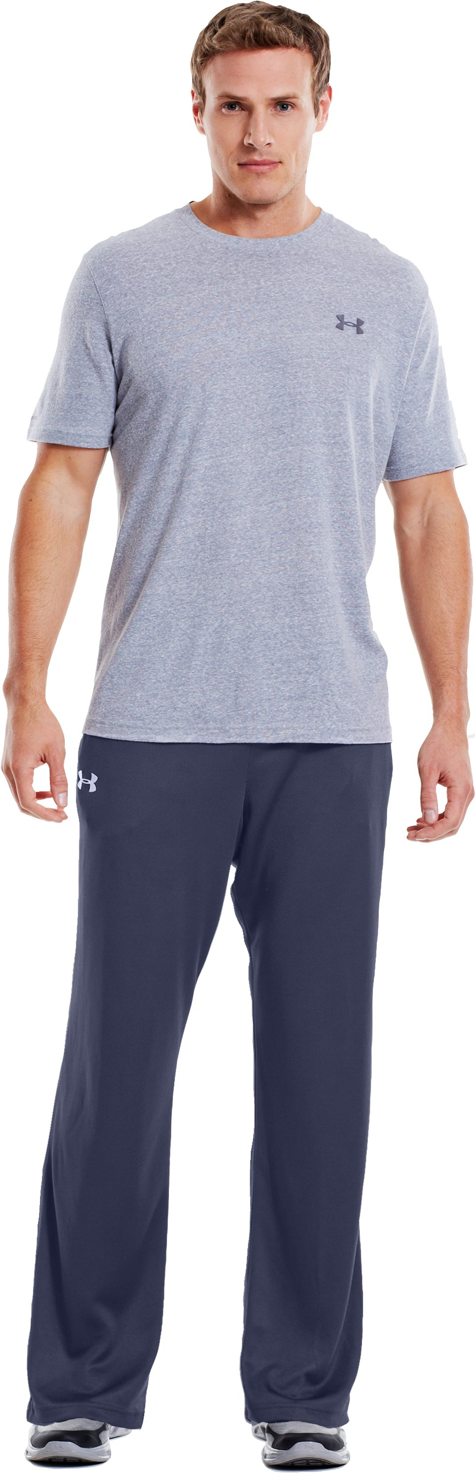 Men's UA Flex Warm-Up Pants, Midnight Navy, Front