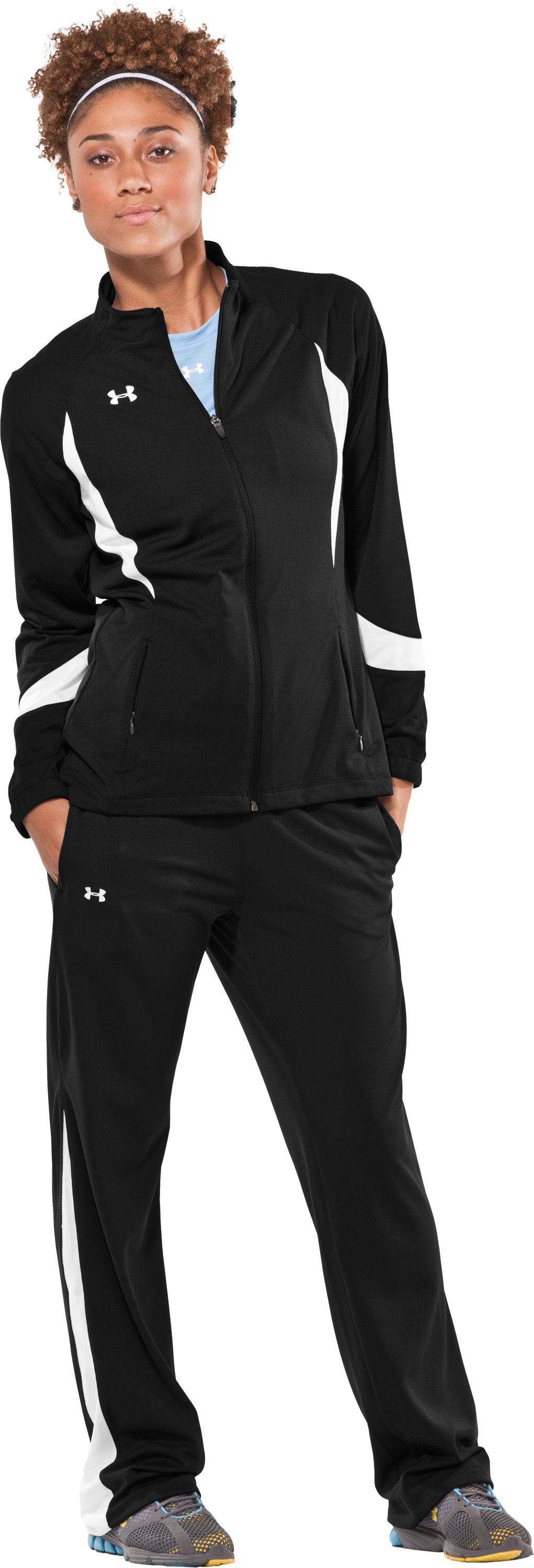Women's UA Hype Pants, Black , Front