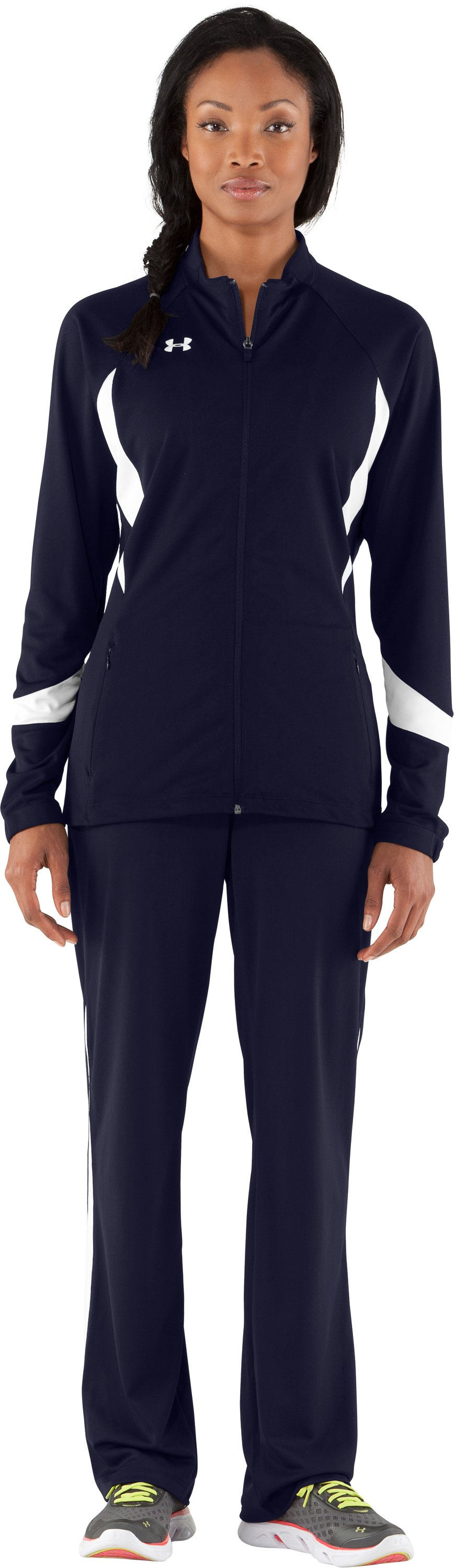 Women's UA Hype Jacket, Midnight Navy, Front
