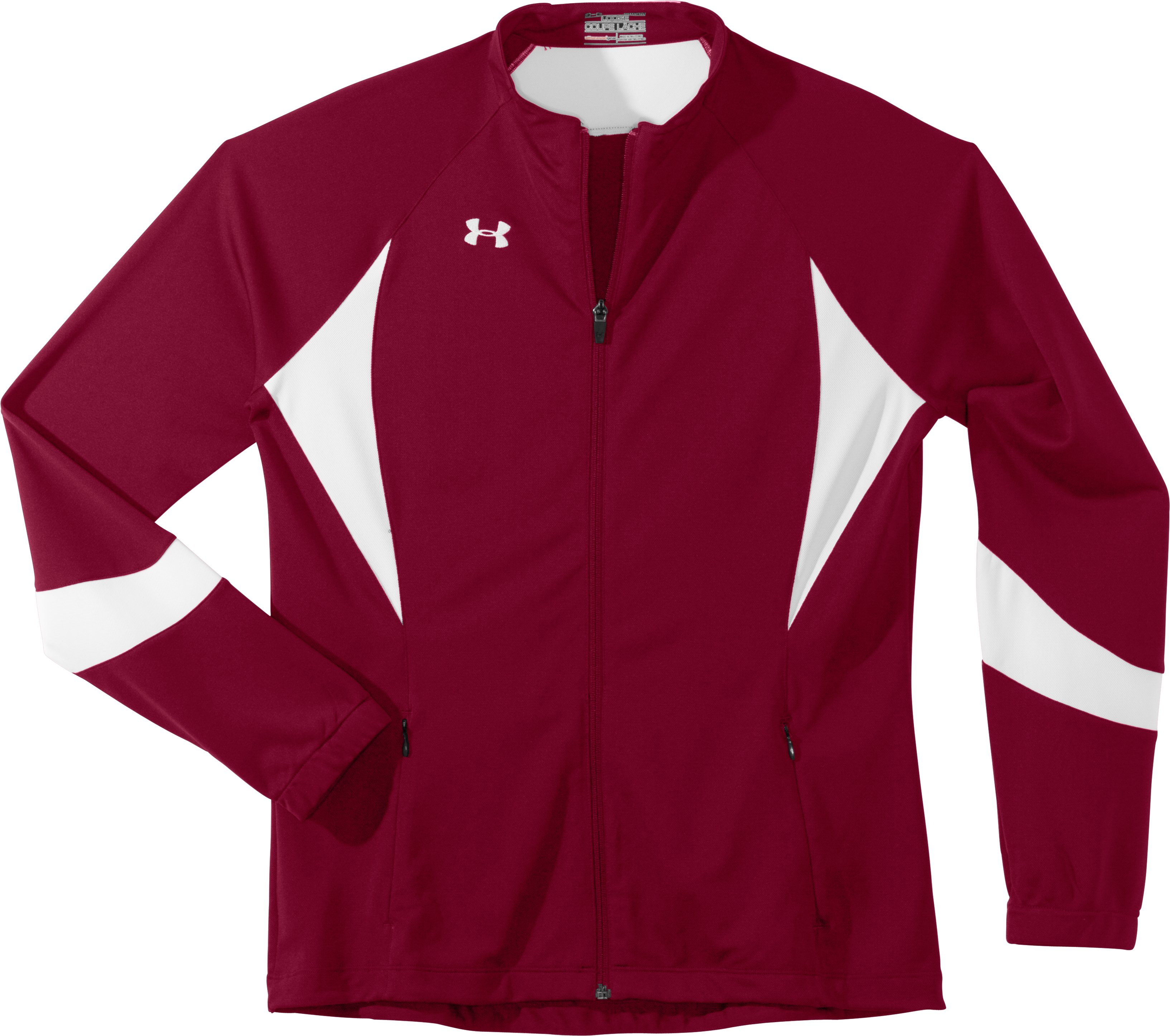 Women's UA Hype Jacket, Cardinal, Laydown