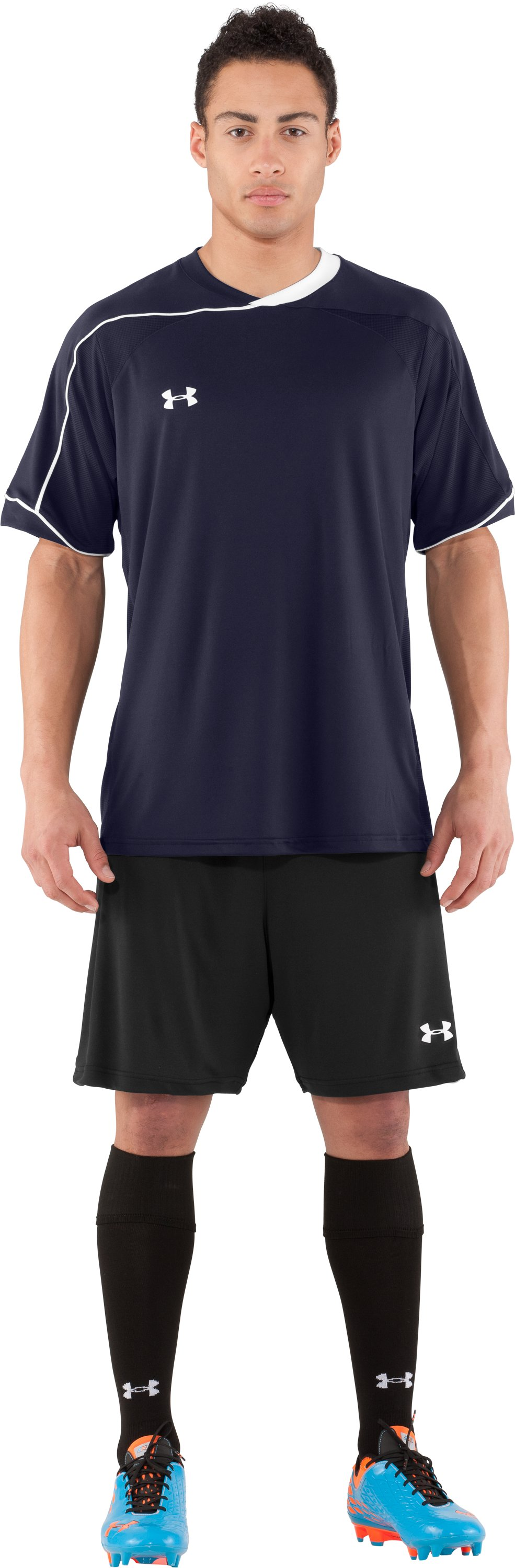 Men's UA Strike Short Sleeve Soccer Jersey, Midnight Navy, Front