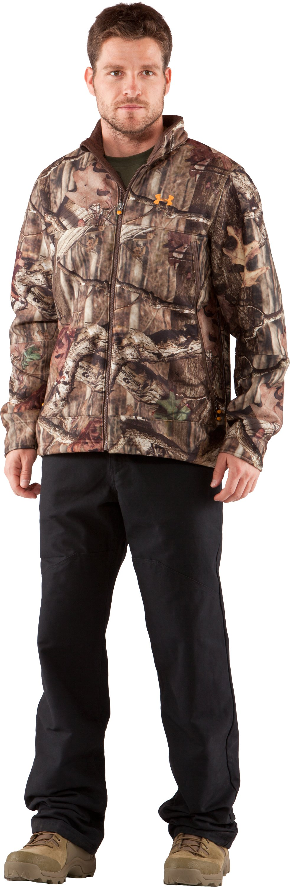 Men's UA Ayton II Fleece Camo Hunting Jacket, Mossy Oak Break-Up Infinity, Front