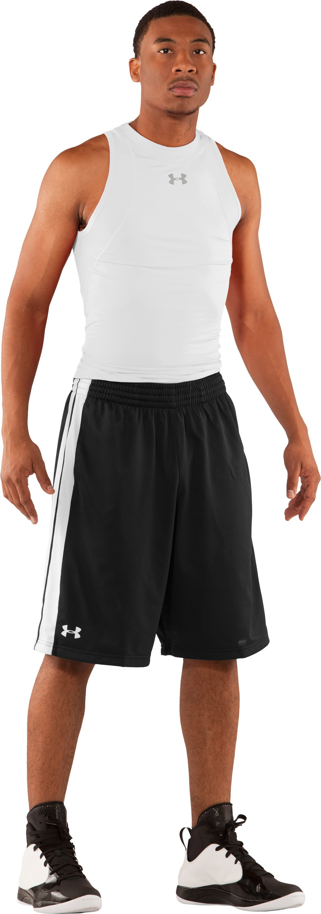 "Men's 10"" Basketball Practice Shorts, Black , Front"