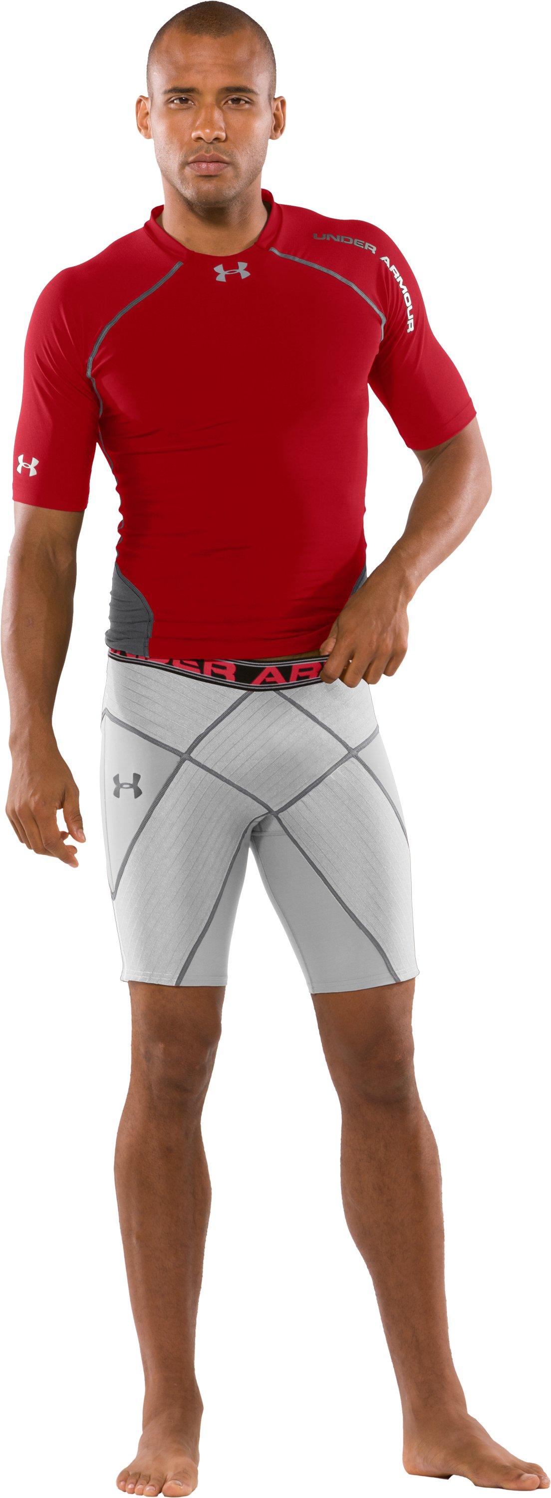 Men's UA Coreshorts Pro, White, Front