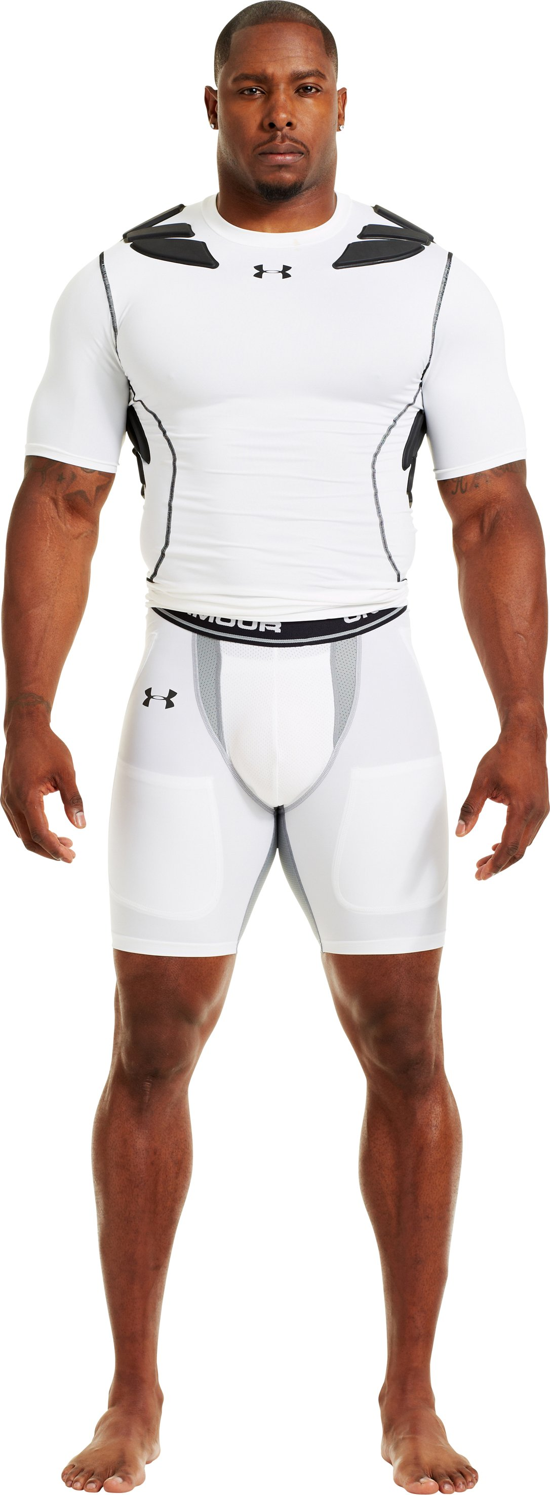 Men's UA HeatGear® Six Pocket Football Girdle, White, Front