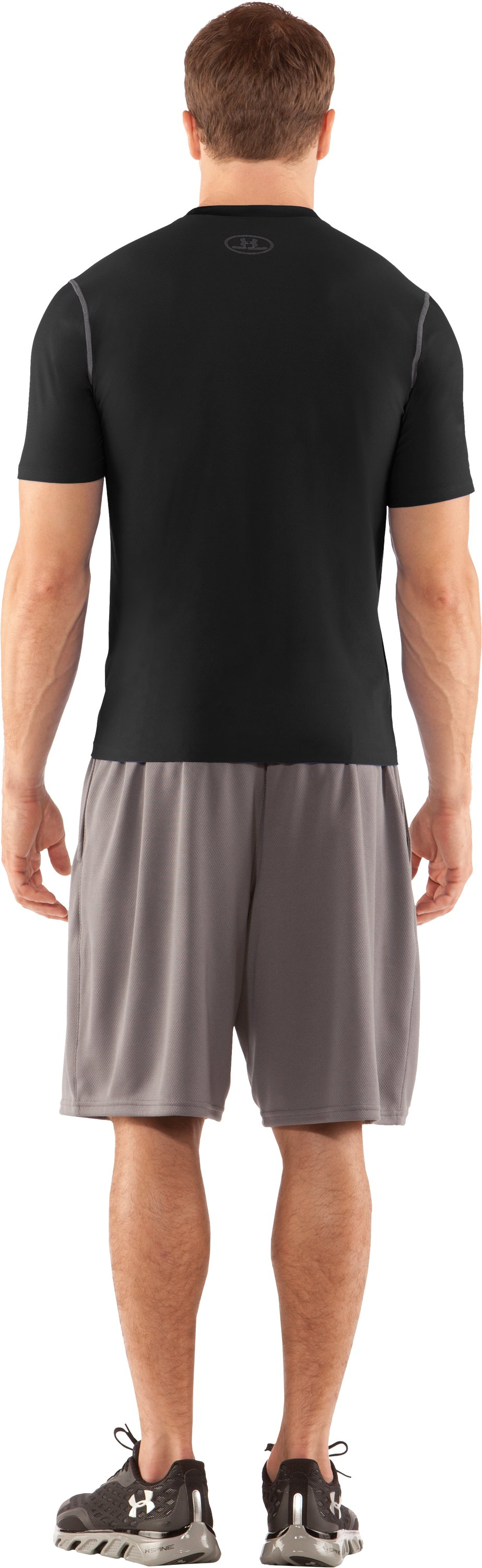 Men's HeatGear® Fitted Short Sleeve Crew, Black , Back