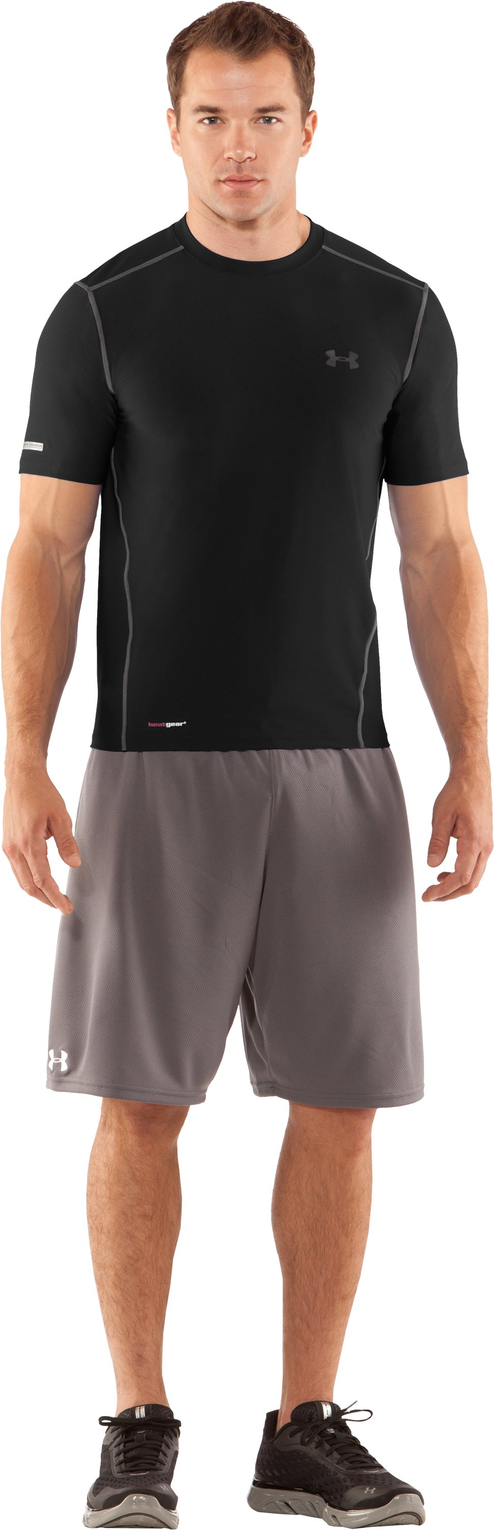Men's HeatGear® Fitted Short Sleeve Crew, Black