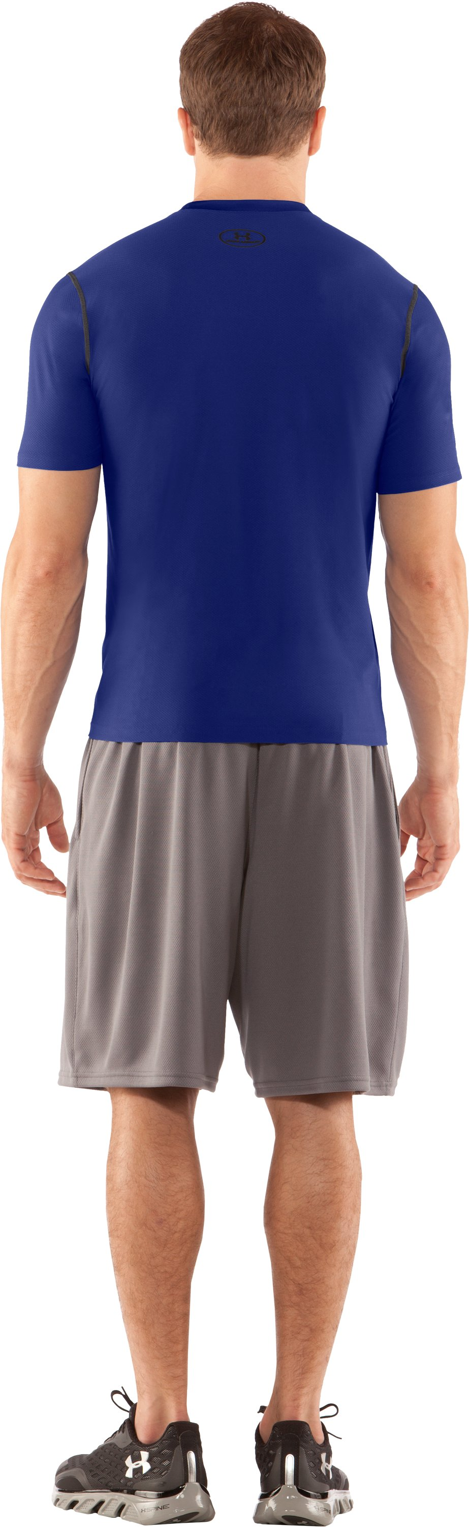 Men's HeatGear® Fitted Short Sleeve Crew, Royal, Back