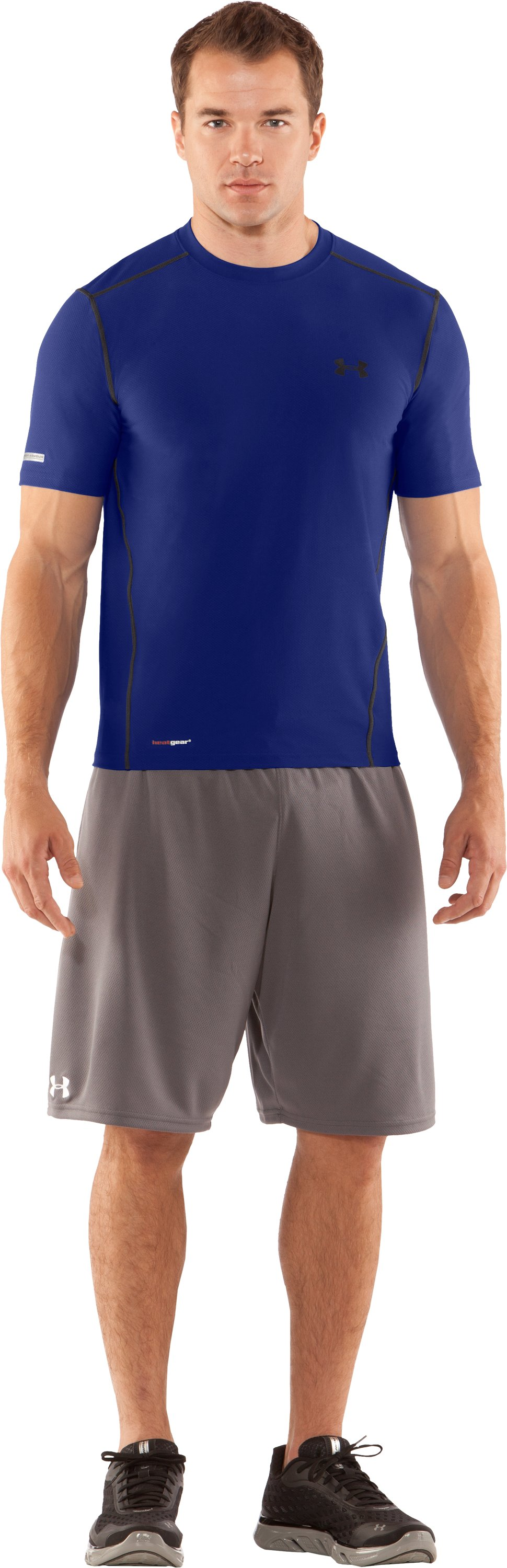 Men's HeatGear® Fitted Short Sleeve Crew, Royal, Front