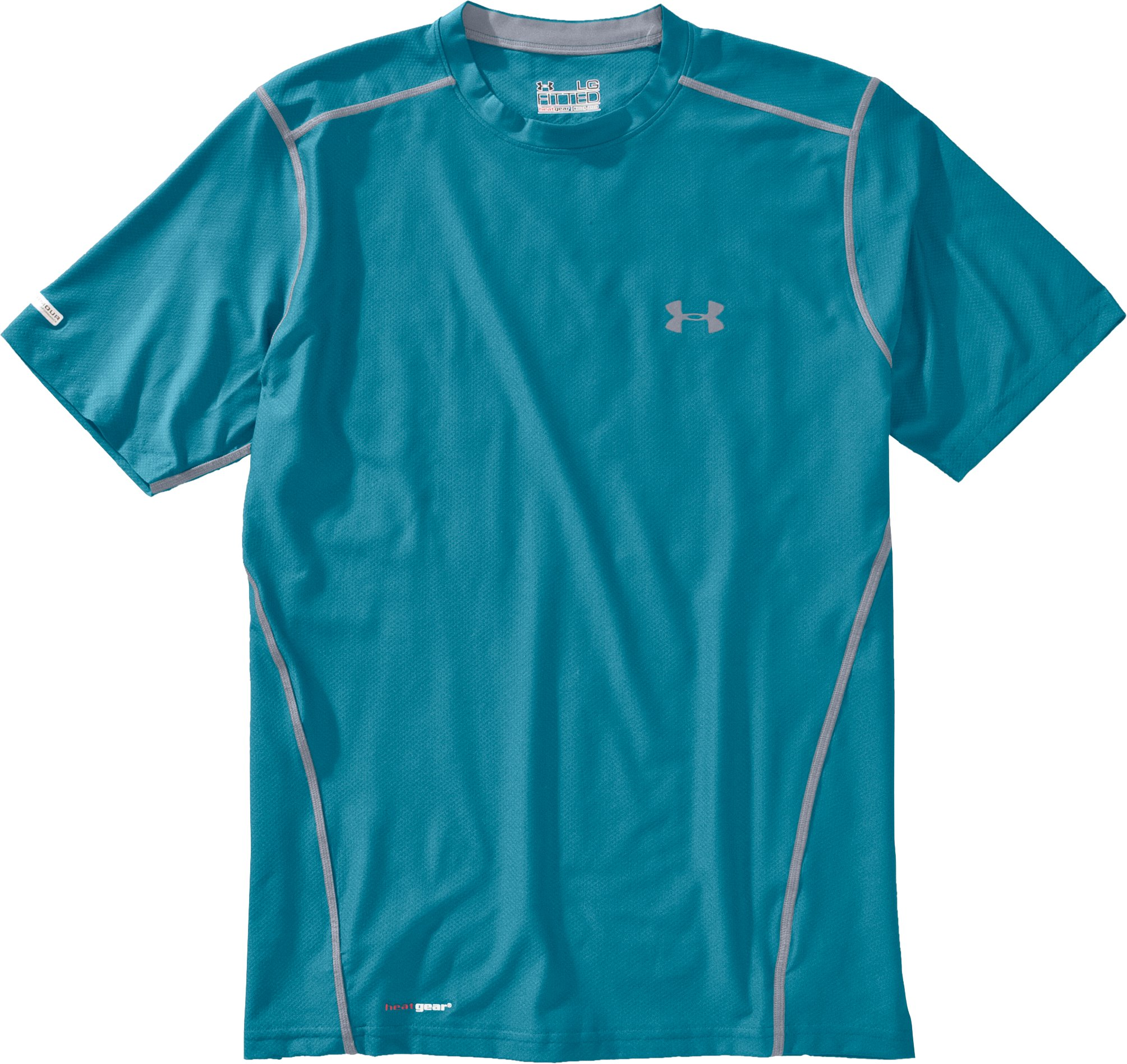 Men's HeatGear® Fitted Short Sleeve Crew, Capri, Laydown