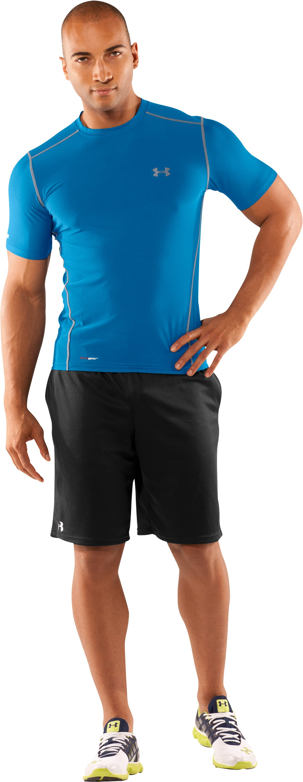 Men's HeatGear® Fitted Short Sleeve Crew, Marine, Front