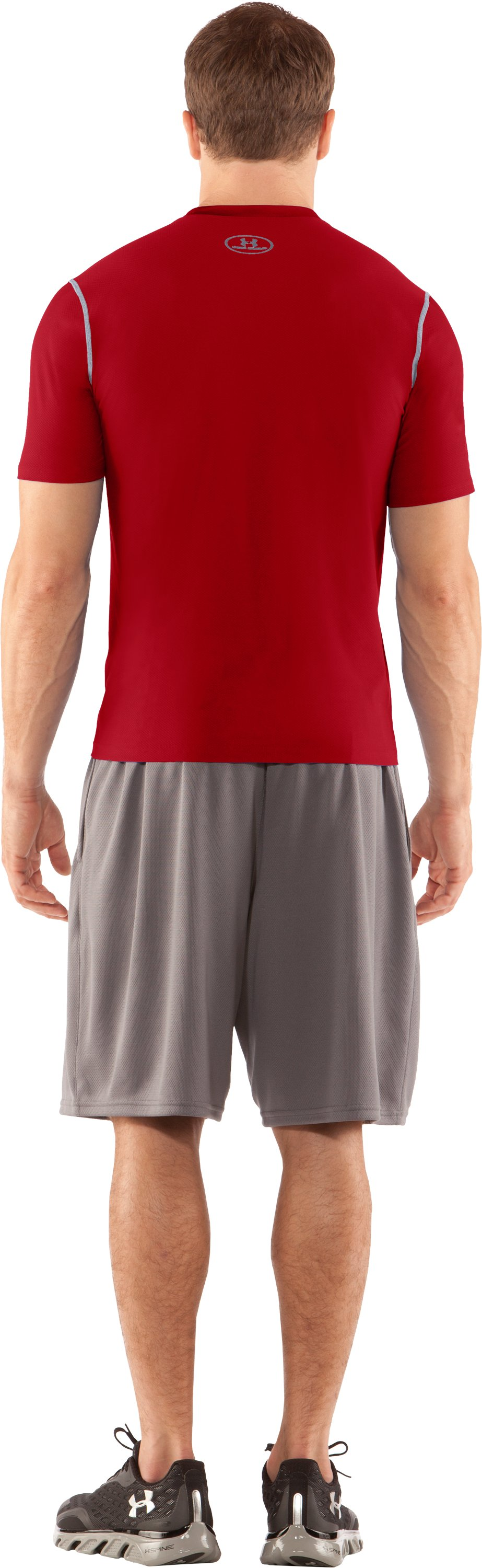 Men's HeatGear® Fitted Short Sleeve Crew, Red, Back