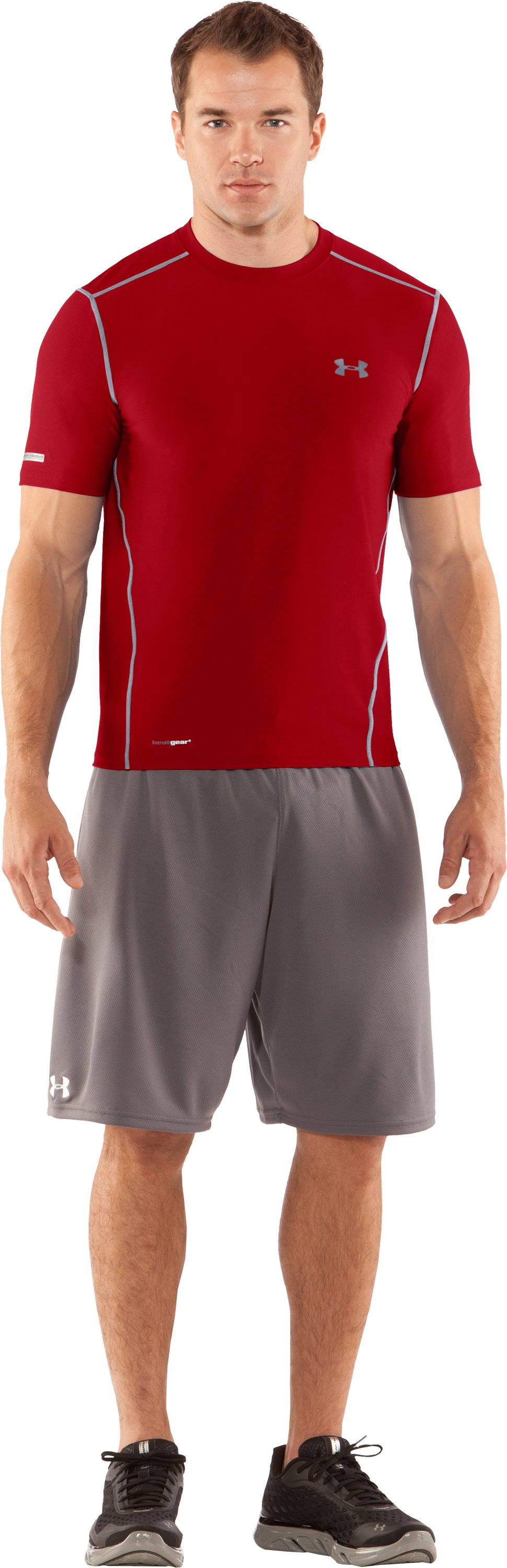 Men's HeatGear® Fitted Short Sleeve Crew, Red, Front