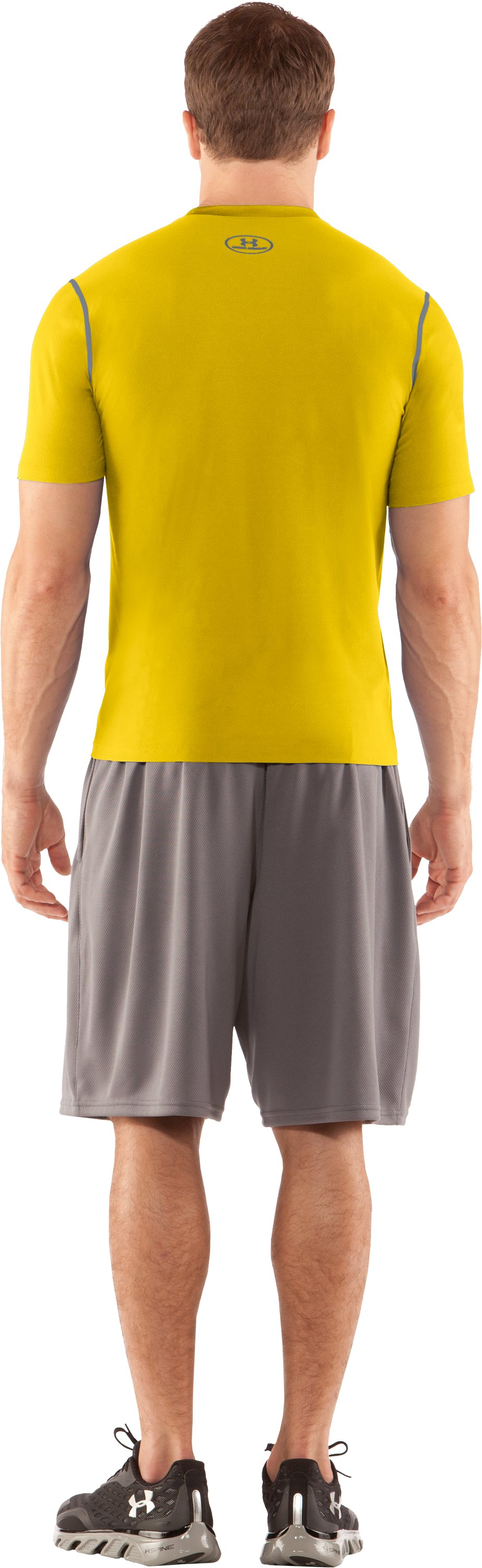 Men's HeatGear® Fitted Short Sleeve Crew, Taxi, Back