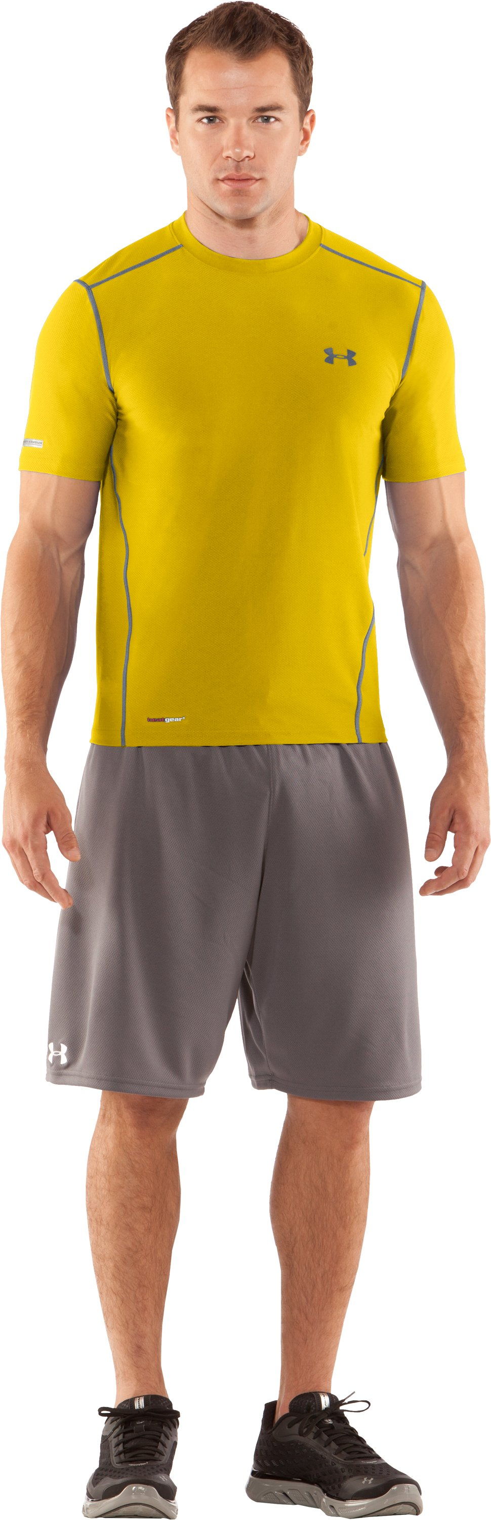 Men's HeatGear® Fitted Short Sleeve Crew, Taxi, Front