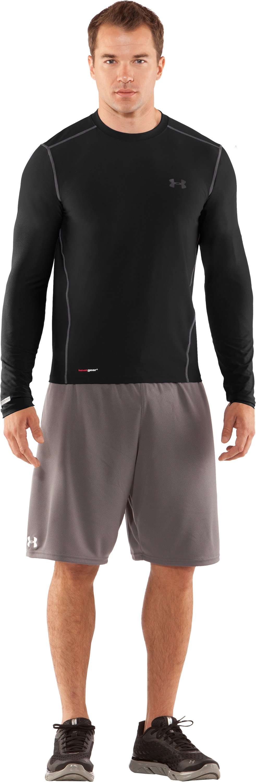 Men's HeatGear® Fitted Long Sleeve Crew, Black , Front