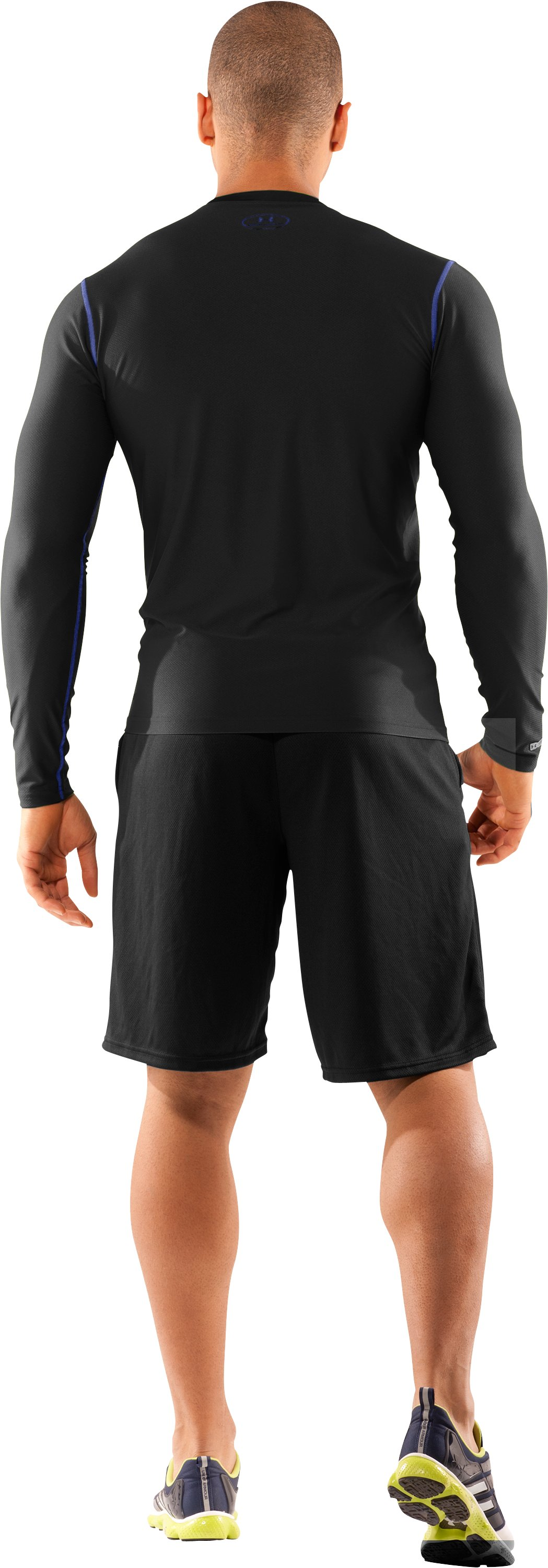 Men's HeatGear® Fitted Long Sleeve Crew, Black , Back