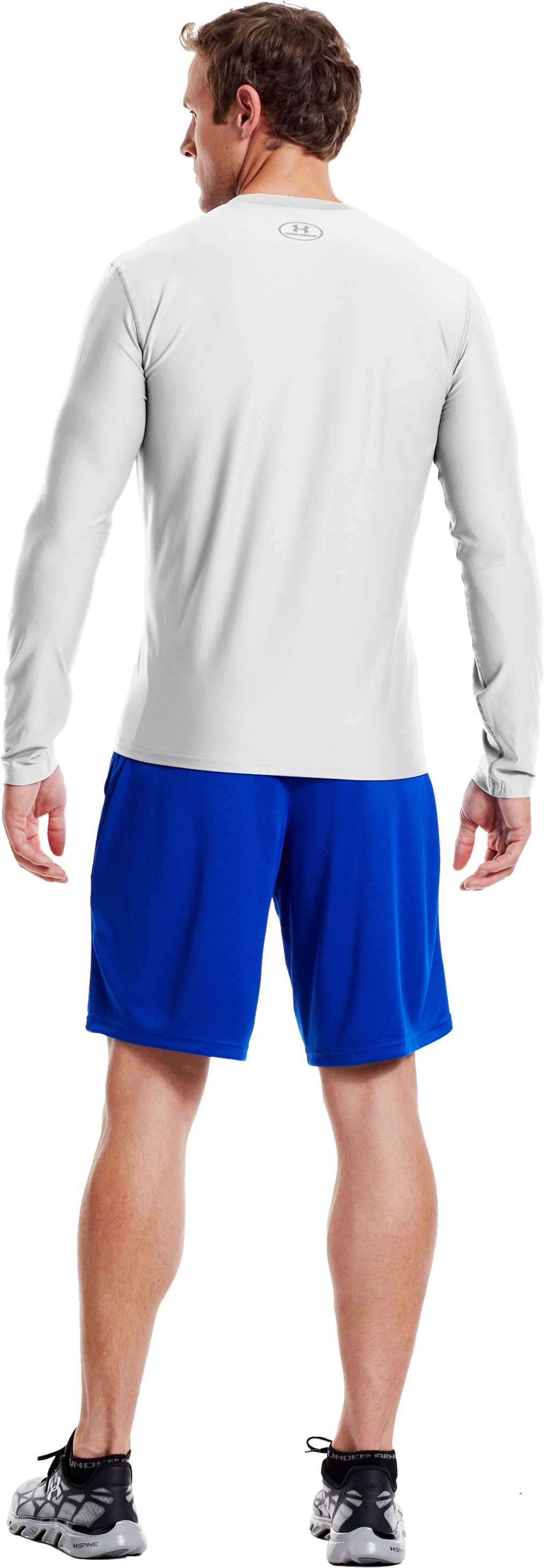Men's HeatGear® Fitted Long Sleeve Crew, White, Back