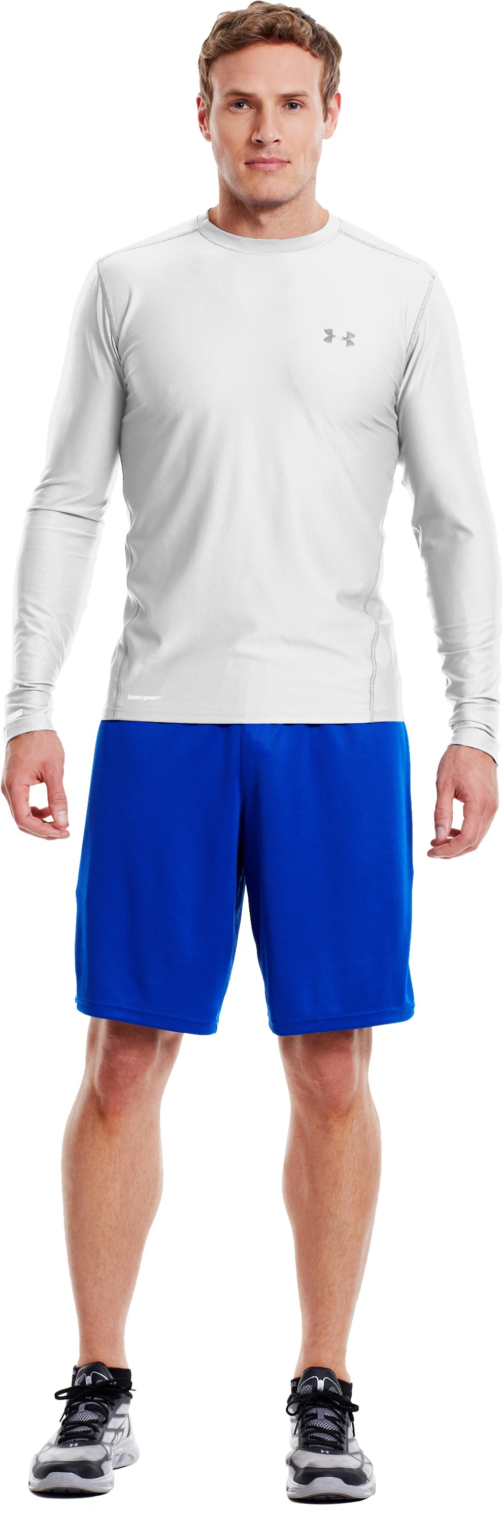 Men's HeatGear® Fitted Long Sleeve Crew, White, Front