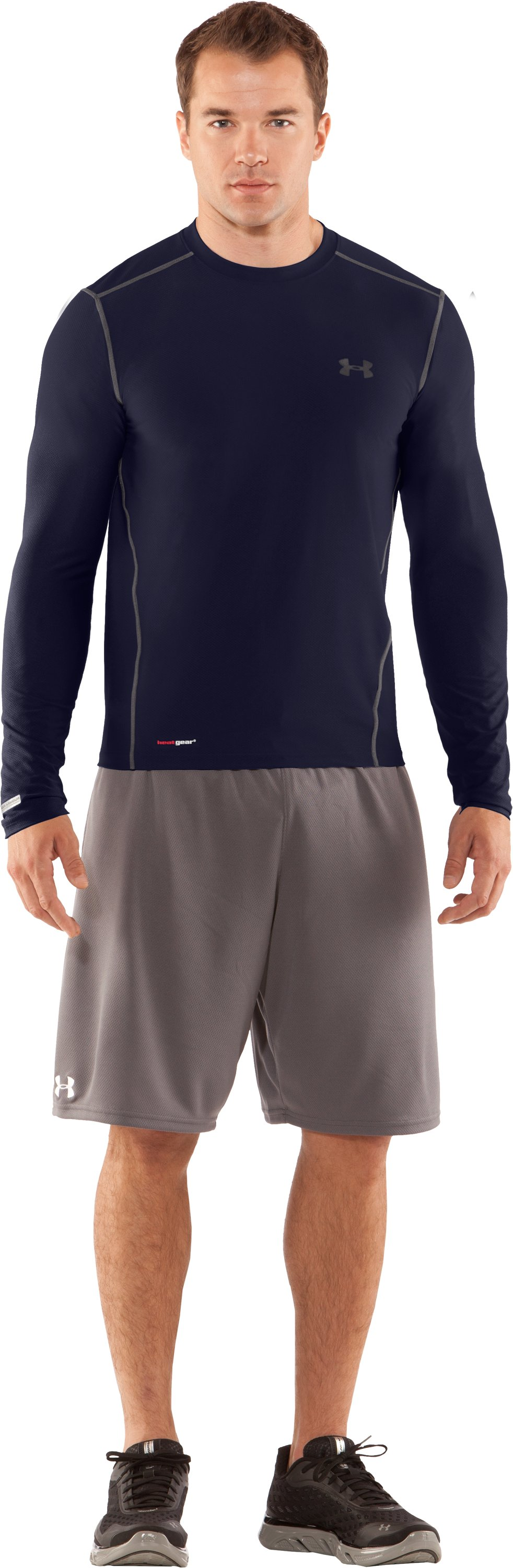 Men's HeatGear® Fitted Long Sleeve Crew, Midnight Navy, Front