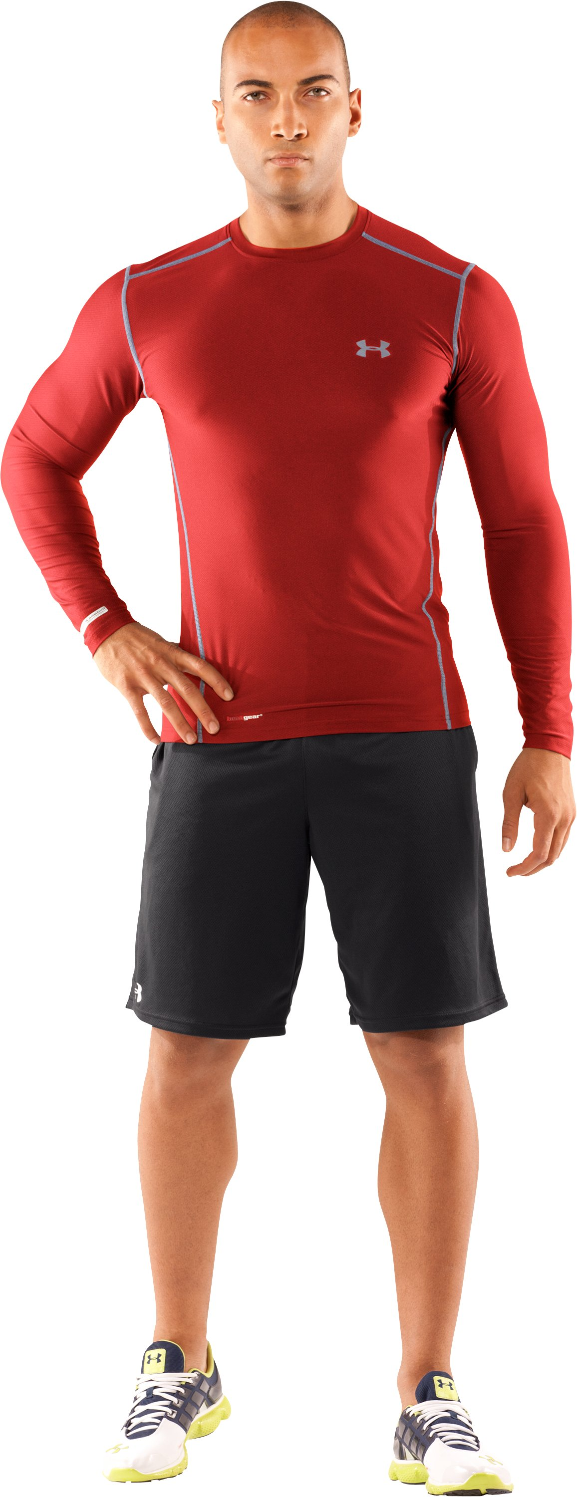 Men's HeatGear® Fitted Long Sleeve Crew, Red, zoomed image