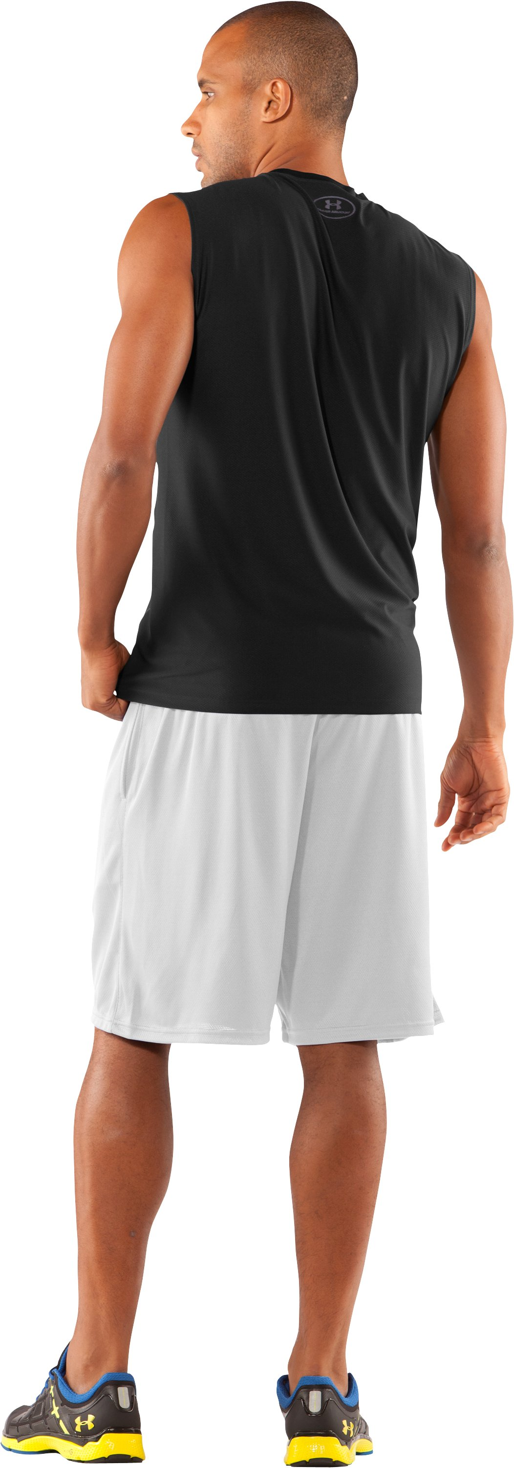 Men's UA HeatGear® Fitted Sleeveless Crew, Black , Back