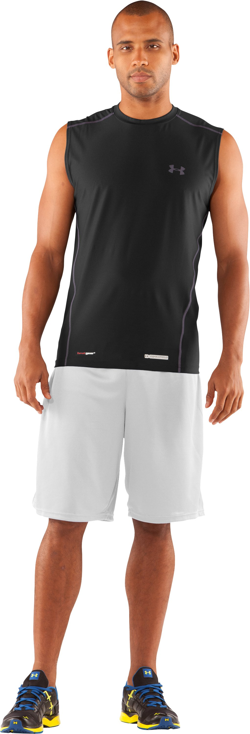 Men's UA HeatGear® Fitted Sleeveless Crew, Black , Front