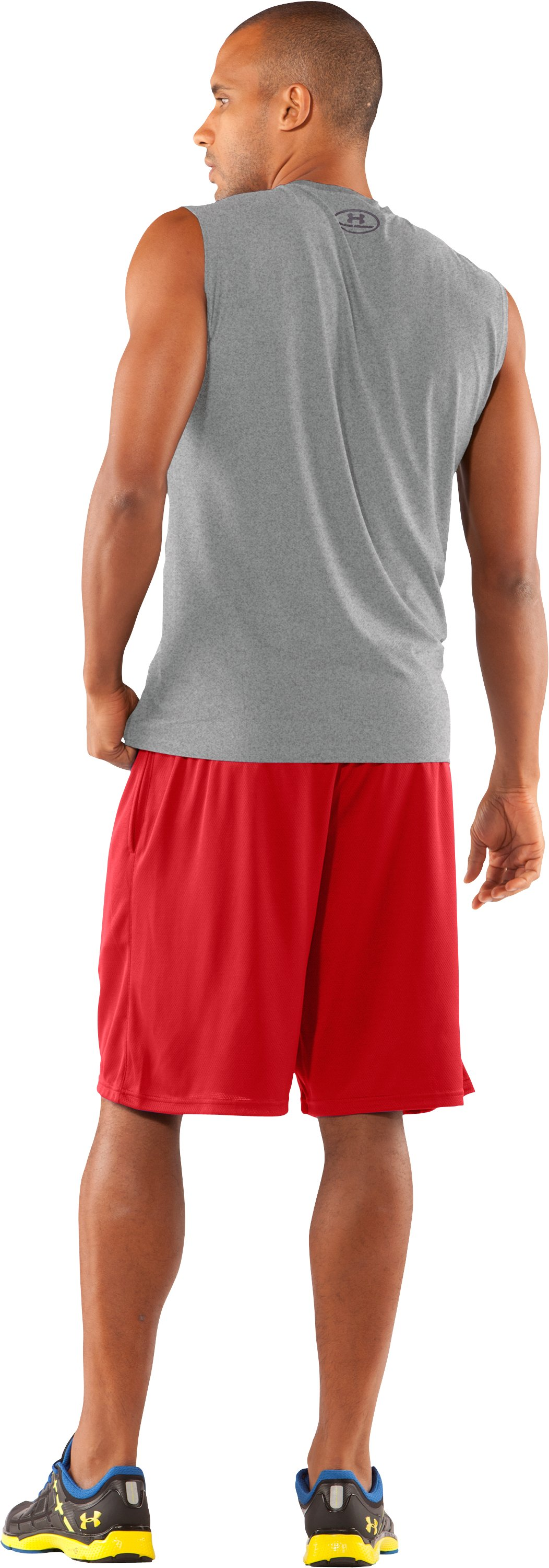 Men's UA HeatGear® Fitted Sleeveless Crew, True Gray Heather, Back