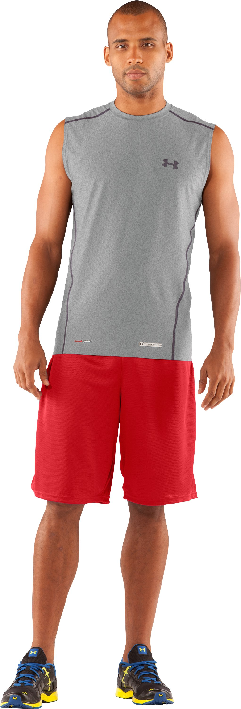 Men's UA HeatGear® Fitted Sleeveless Crew, True Gray Heather, Front