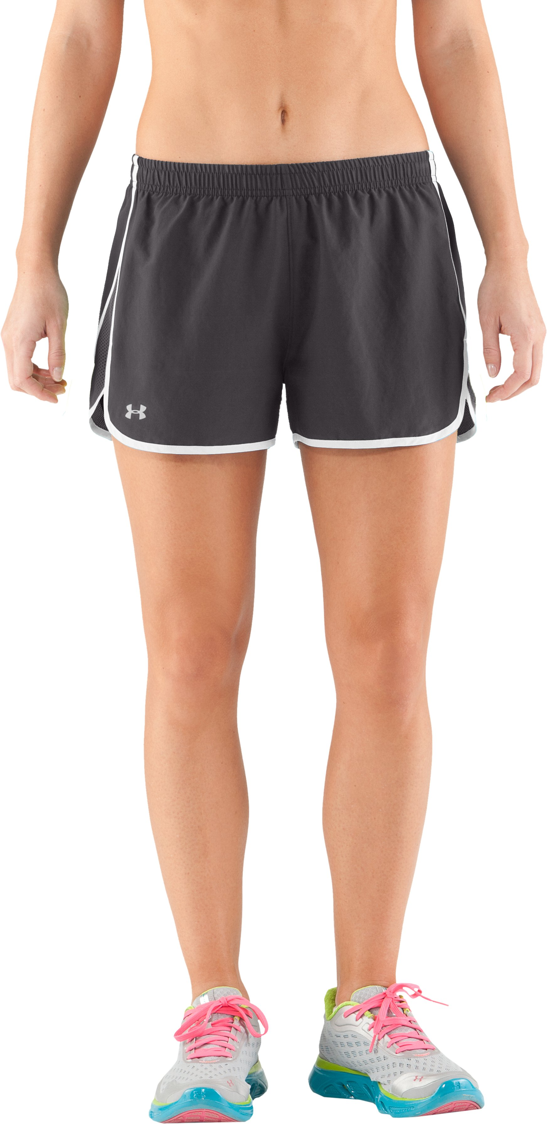 "Women's UA Escape 3"" Running Shorts, Charcoal, zoomed image"