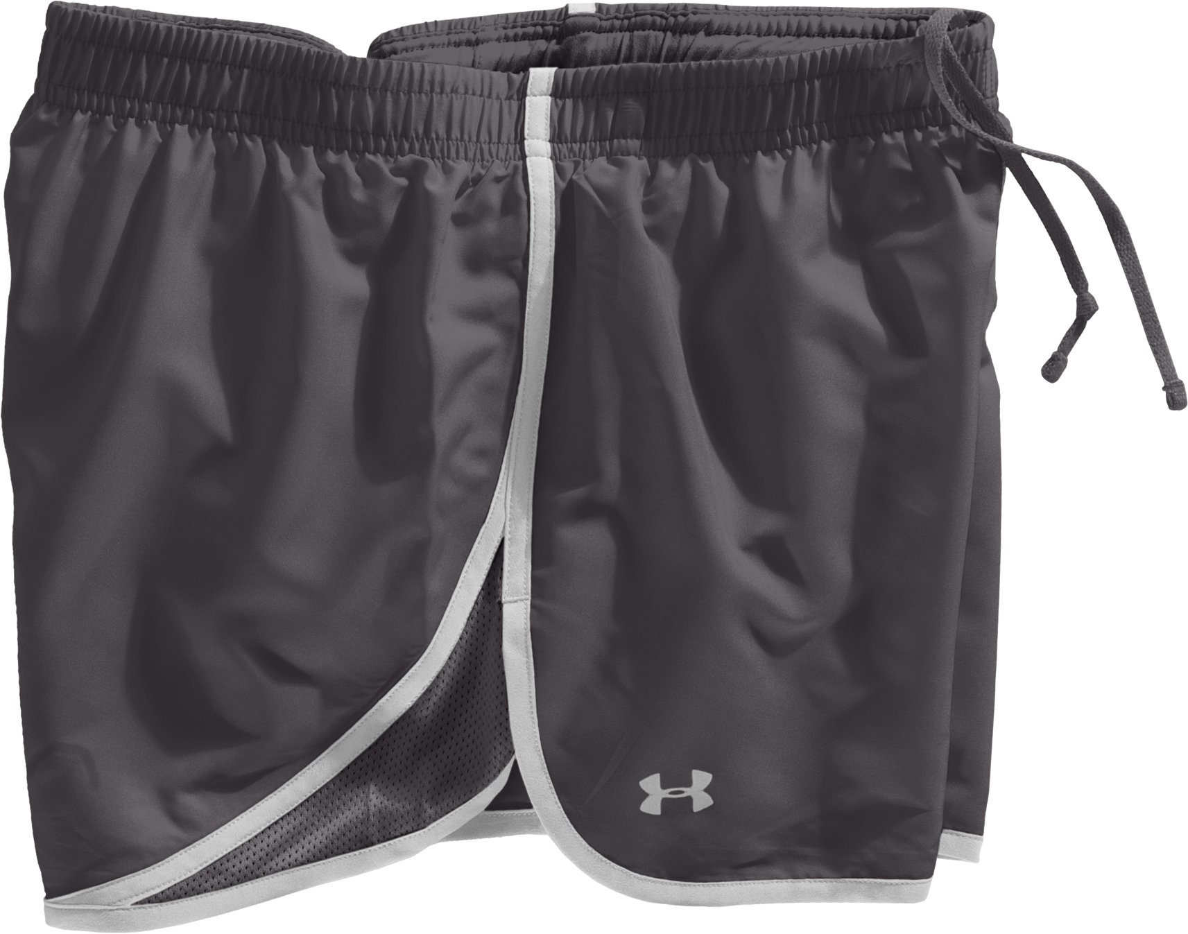 "Women's UA Escape 3"" Running Shorts, Charcoal, Laydown"