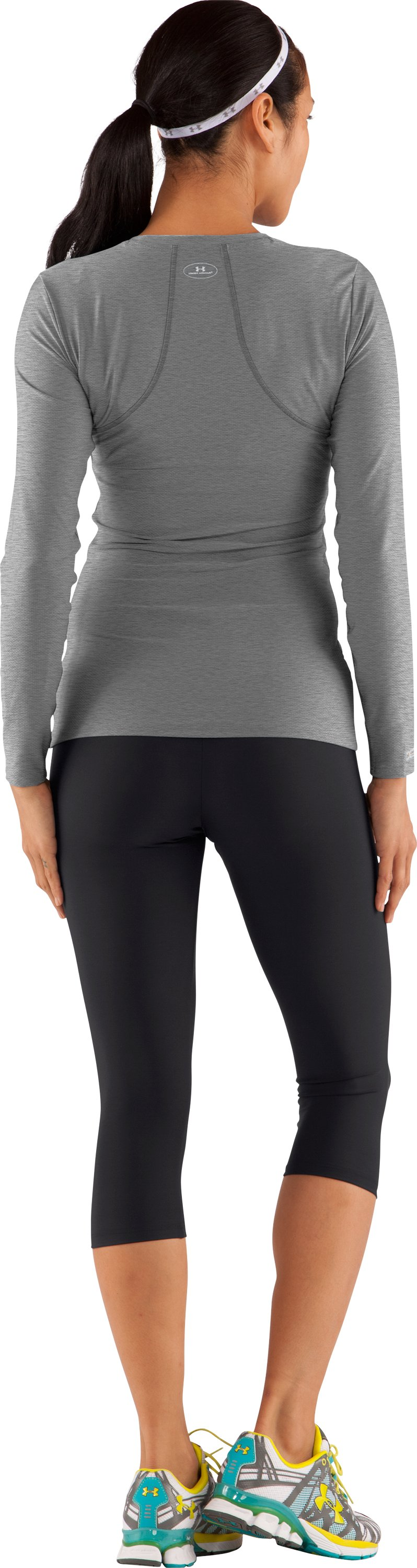 Women's UA HeatGear® Fitted Long Sleeve Shirt, True Gray Heather, Back