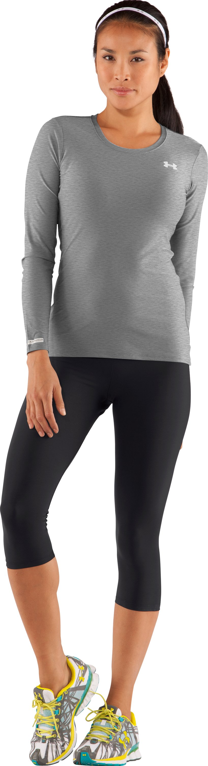 Women's UA HeatGear® Fitted Long Sleeve Shirt, True Gray Heather, zoomed image