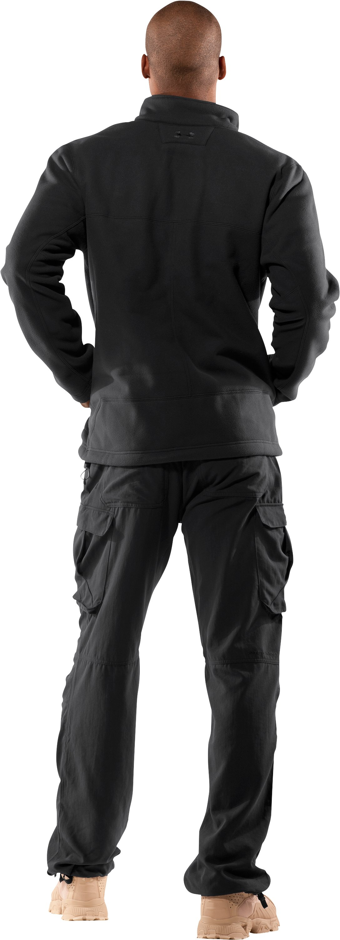 Men's Tactical Windproof Fleece Jacket, Black , Back